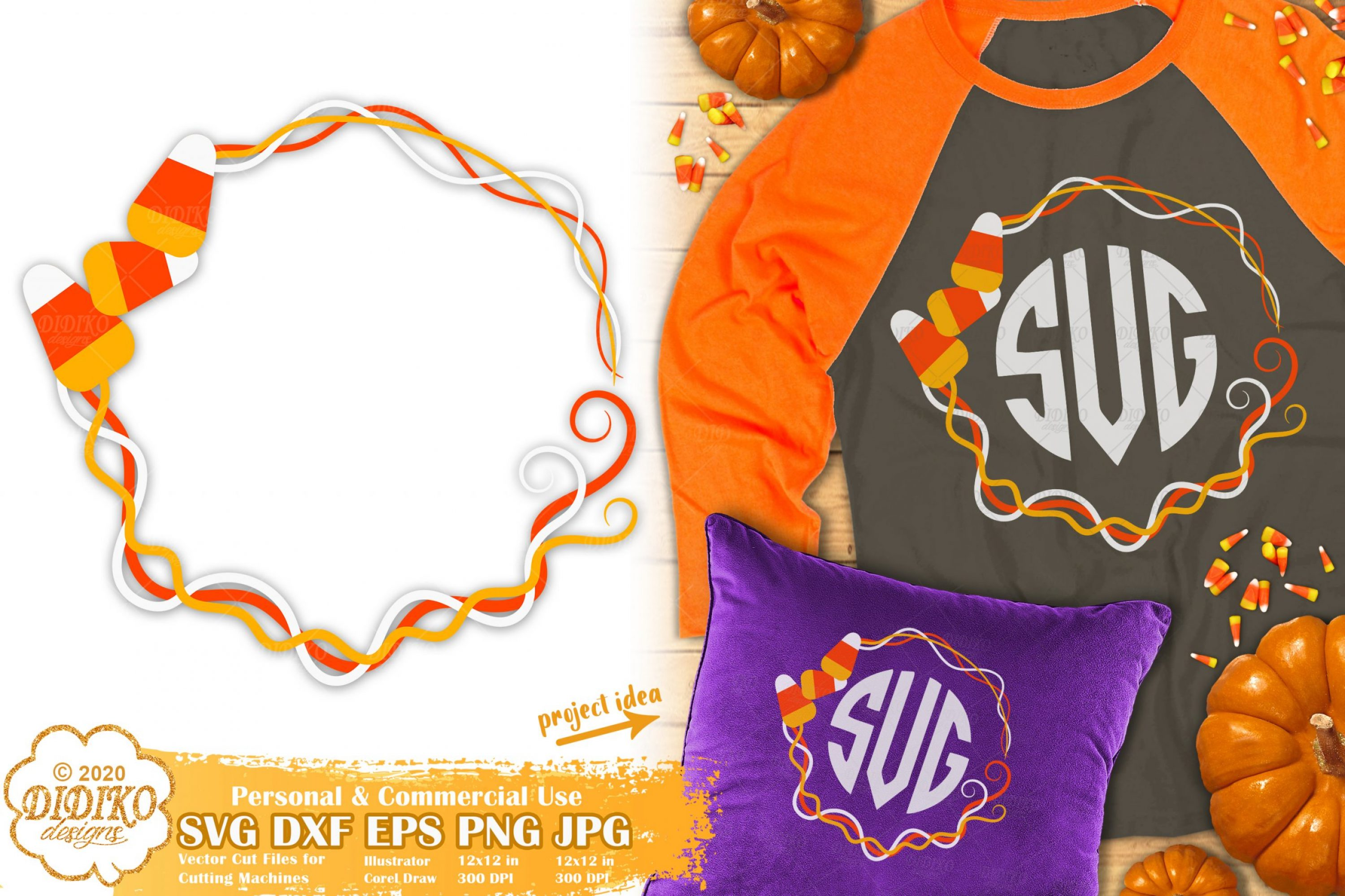 Candy Corn Monogram SVG | Halloween Frame SVG