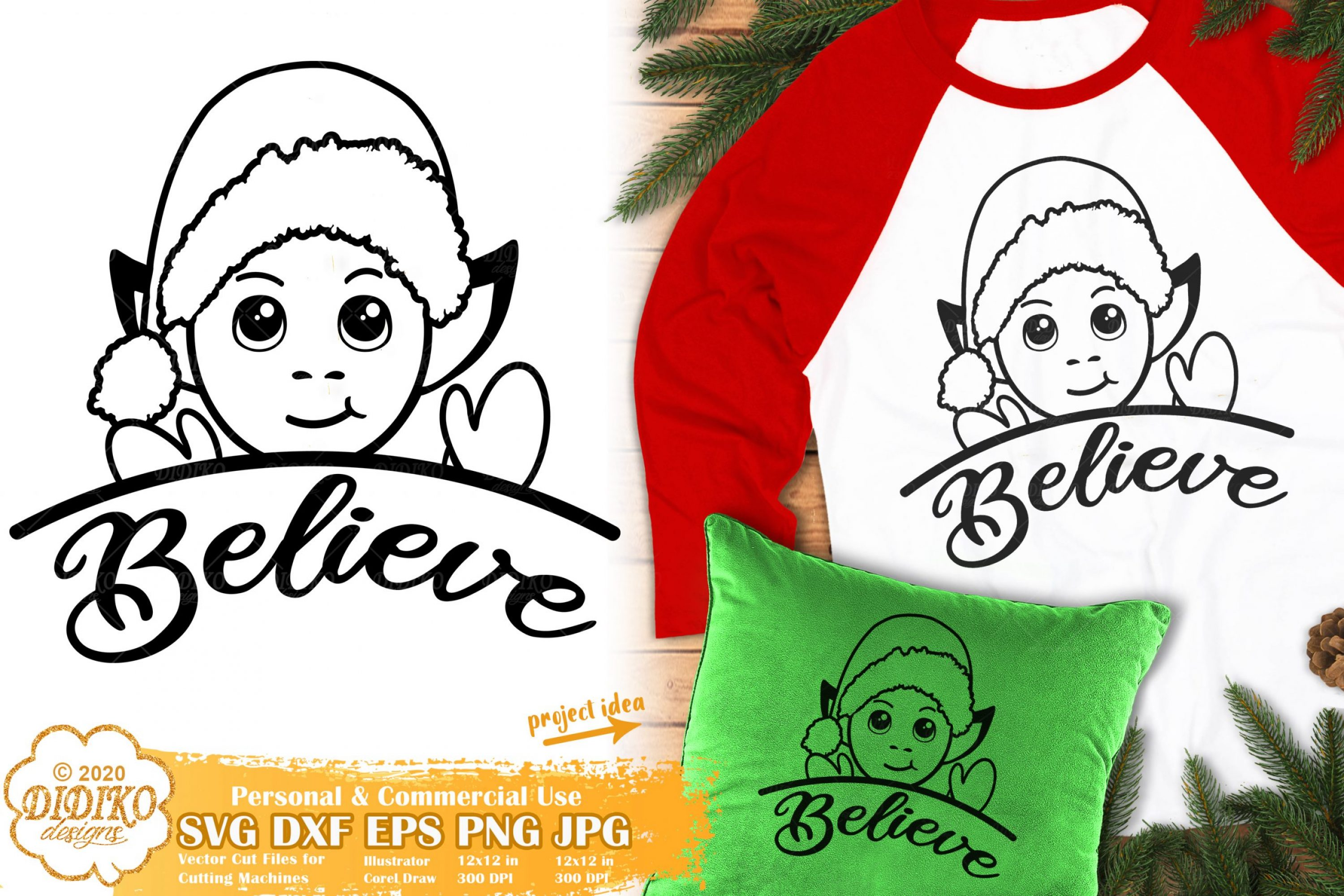 Cute Elf SVG | Peek a Boo SVG | Christmas SVG Files