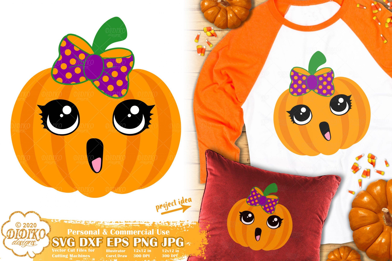 Cute Halloween Pumpkin SVG | Girl Pumpkin SVG