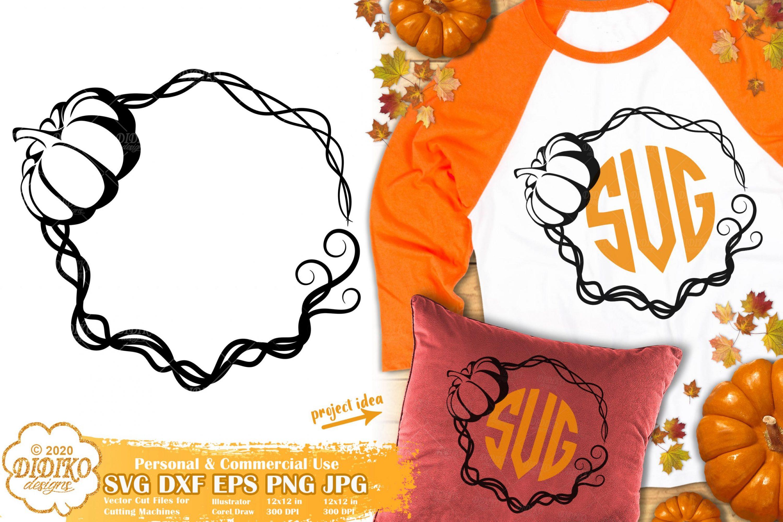 Pumpkin Monogram SVG #2 | Fall Frame Svg | Autumn