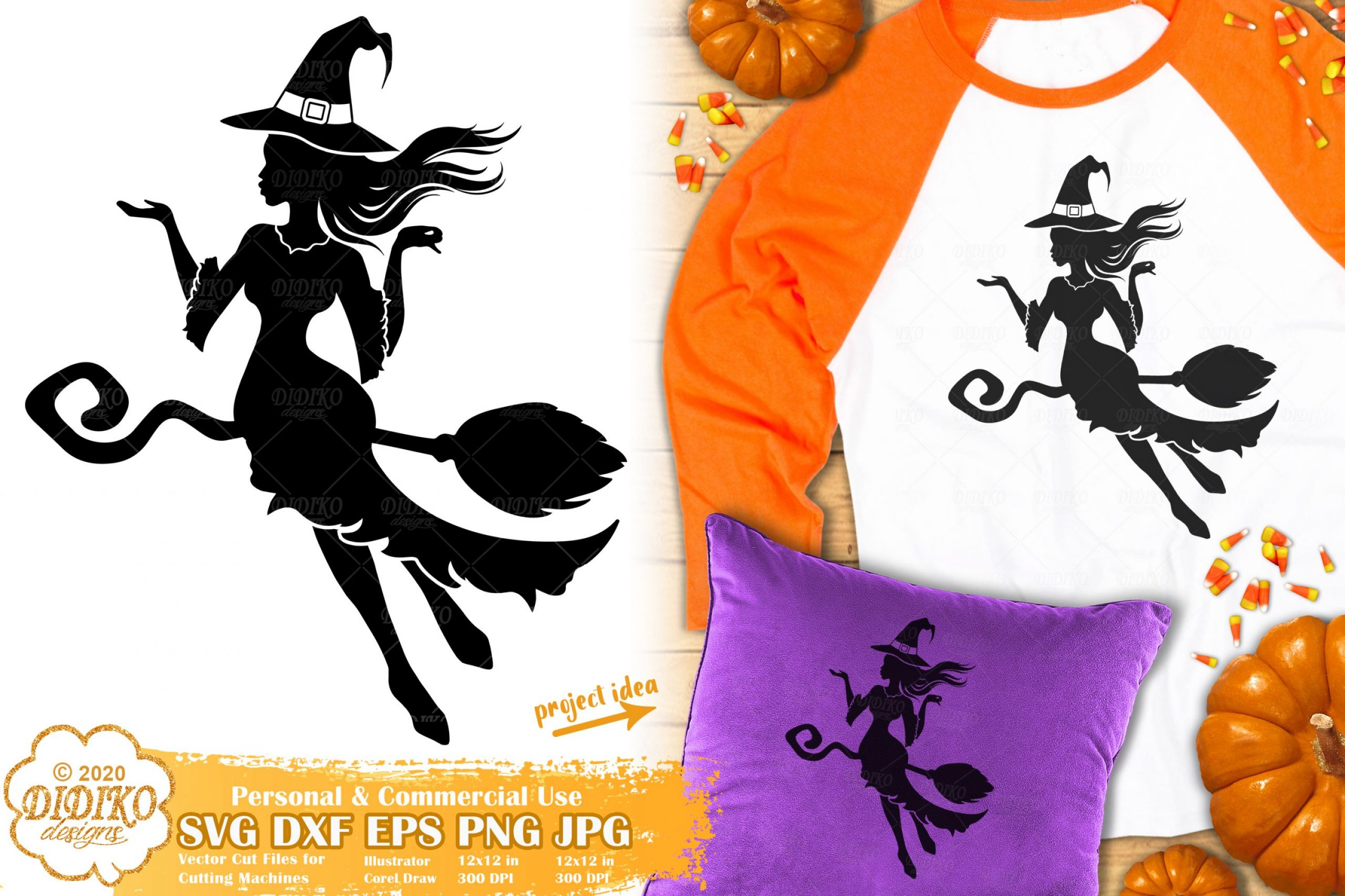 Witch SVG | Halloween Svg | Flying Witch Silhouette Svg