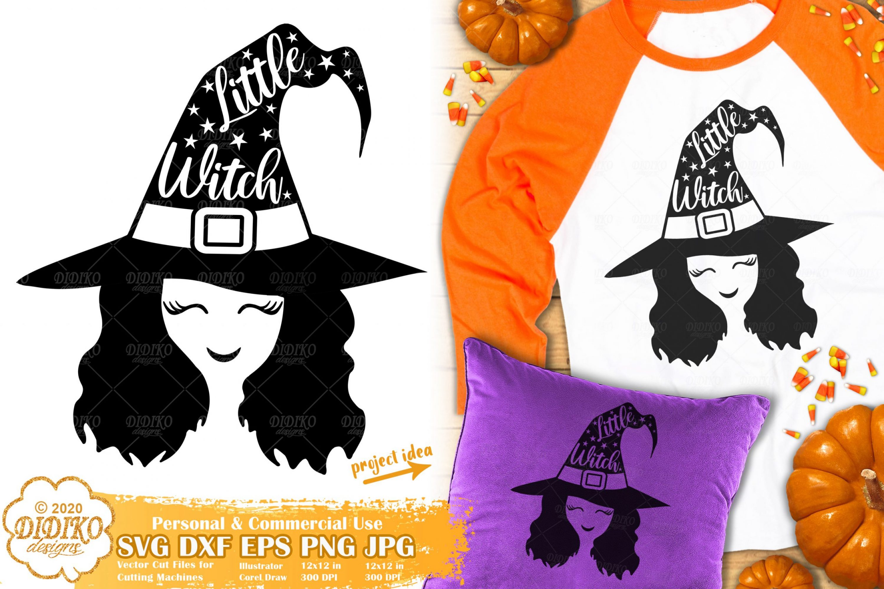 Little Witch SVG | Cute Witch SVG | Halloween Girl Svg