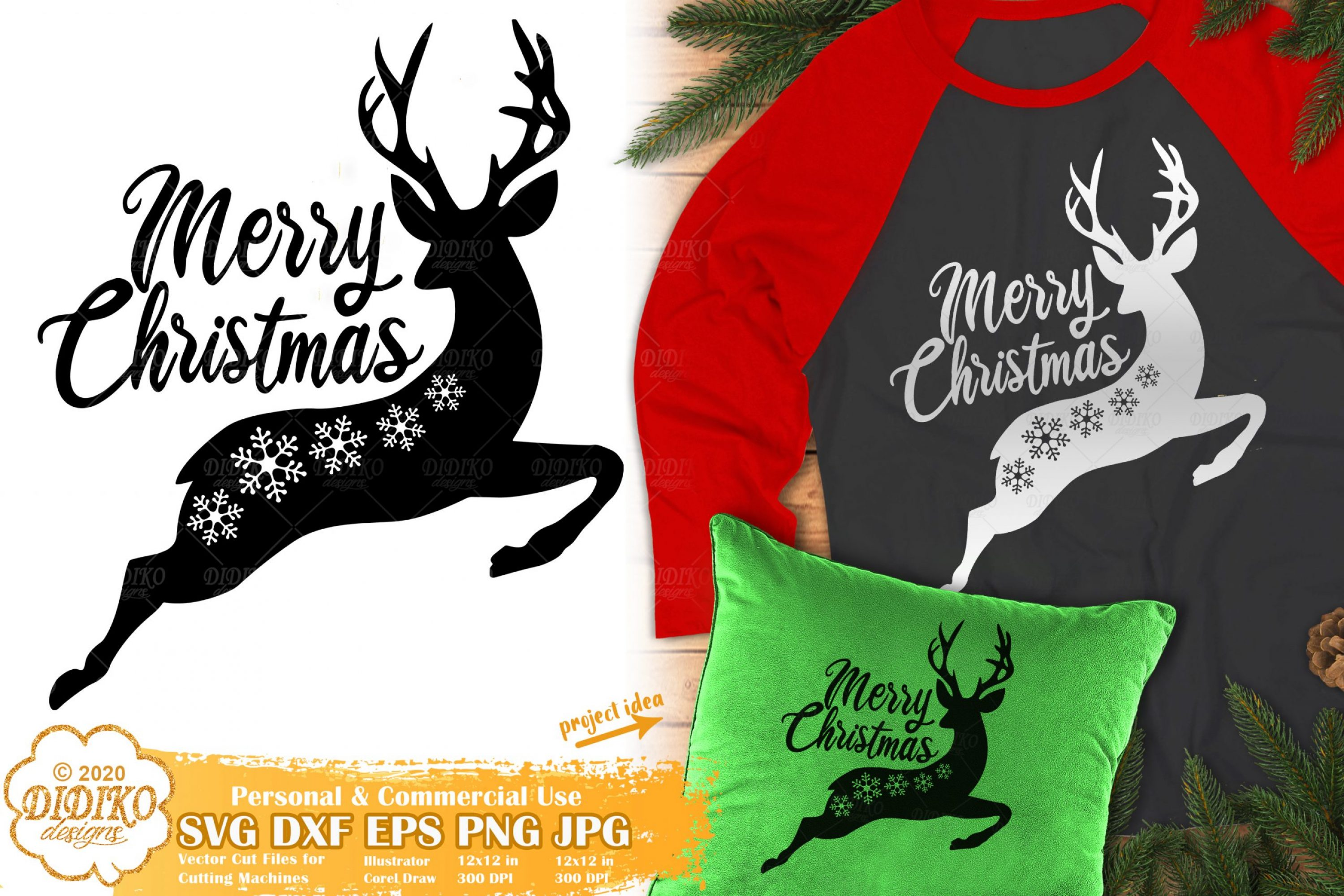 Reindeer Merry Christmas SVG | Snowflake SVG Files