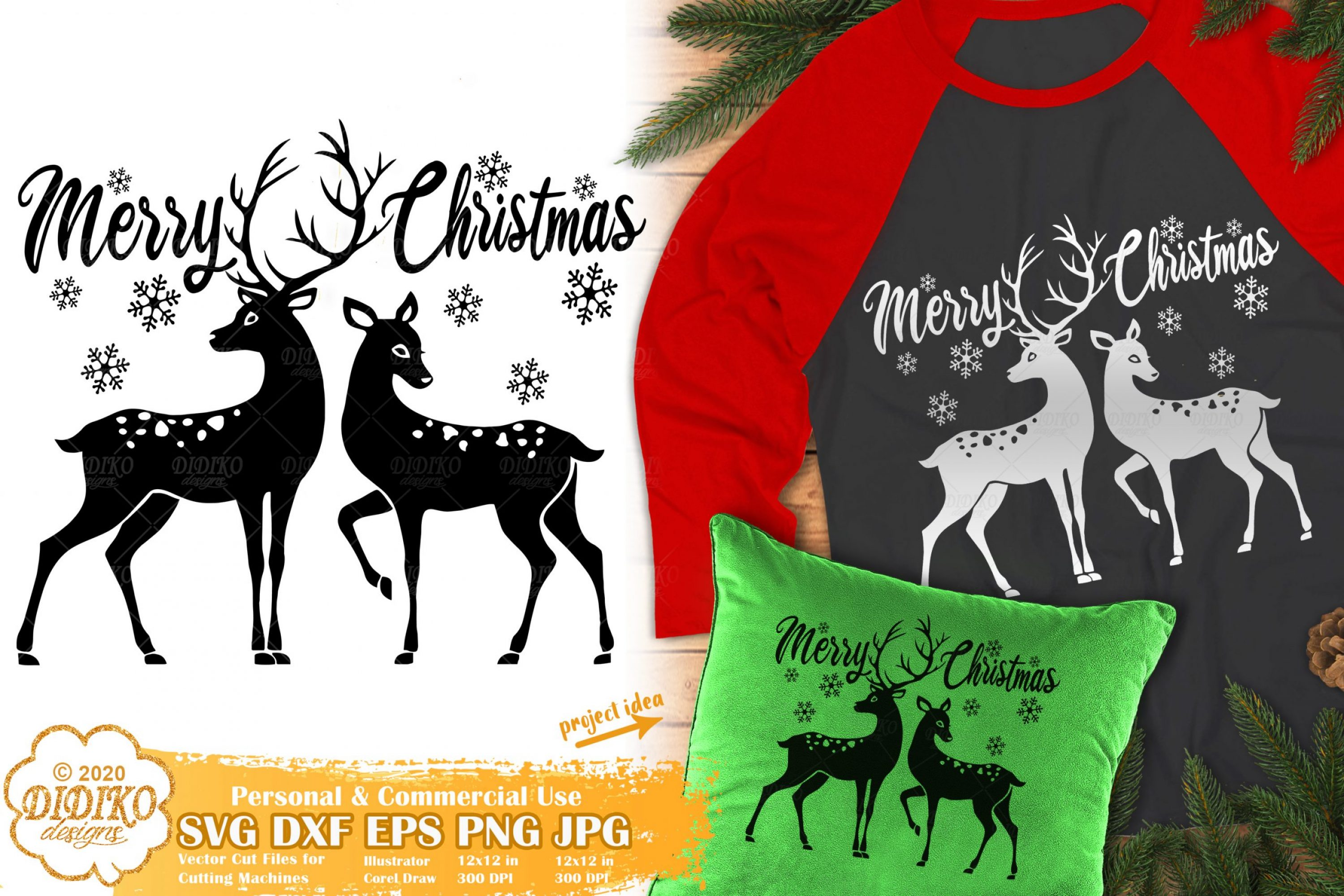 Reindeers SVG | Merry Christmas SVG Silhouette Files