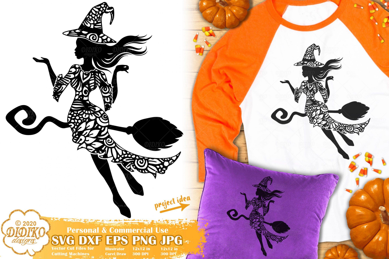 Halloween Mandala SVG   Witch SVG   Zentangle SVG