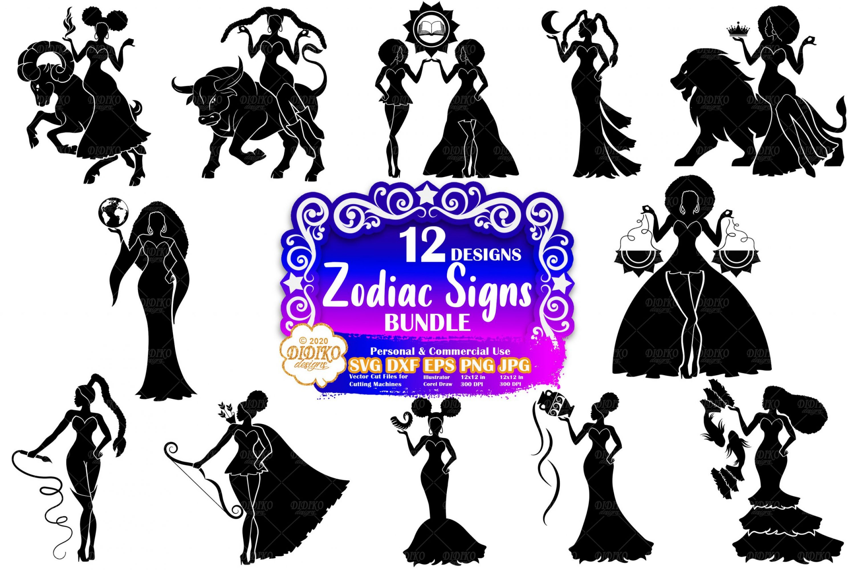 Zodiac SVG Bundle | Black Woman SVG | Astrology Svg
