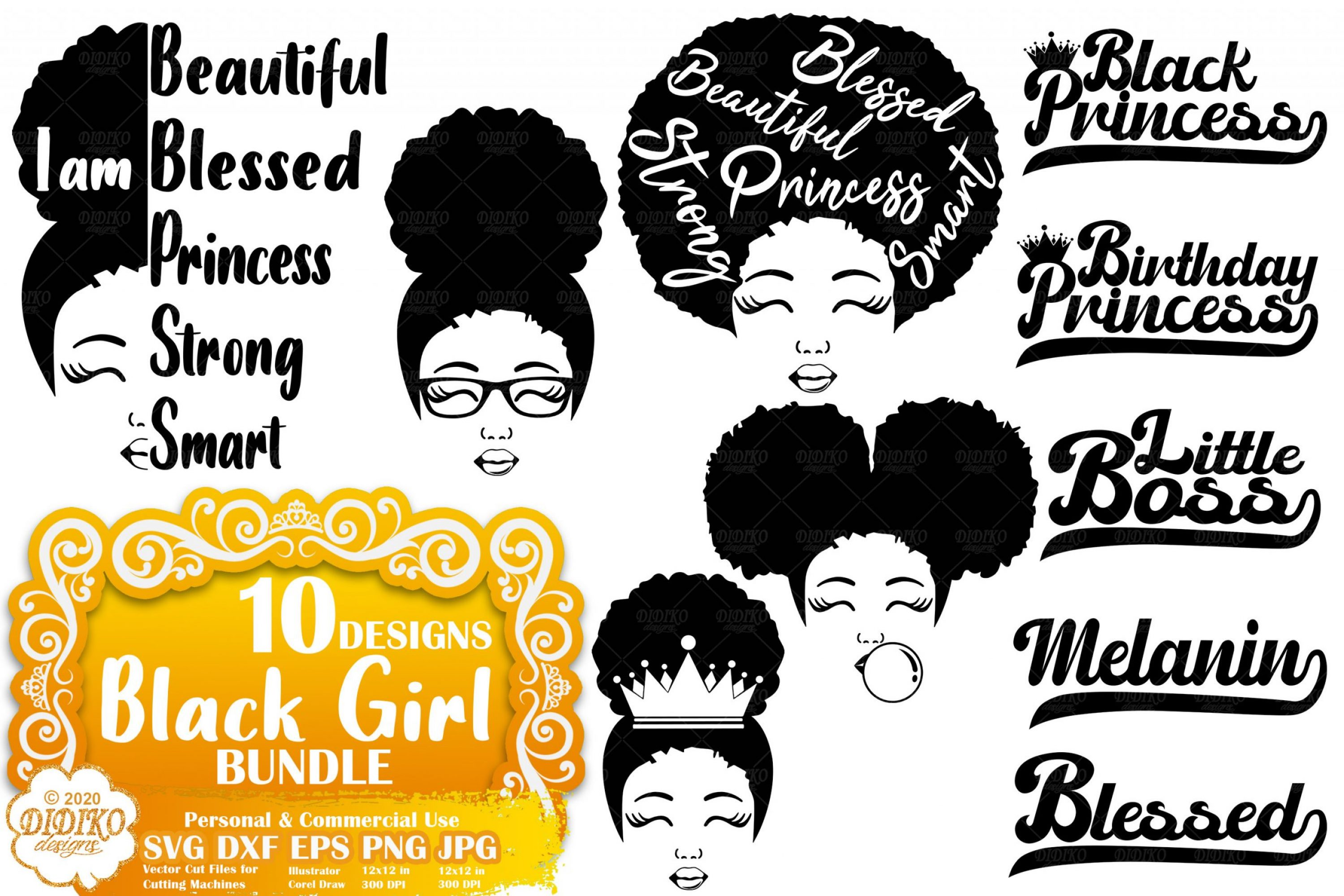 Black Girl SVG Bundle | Afro Girl bundle svg | Words Svg