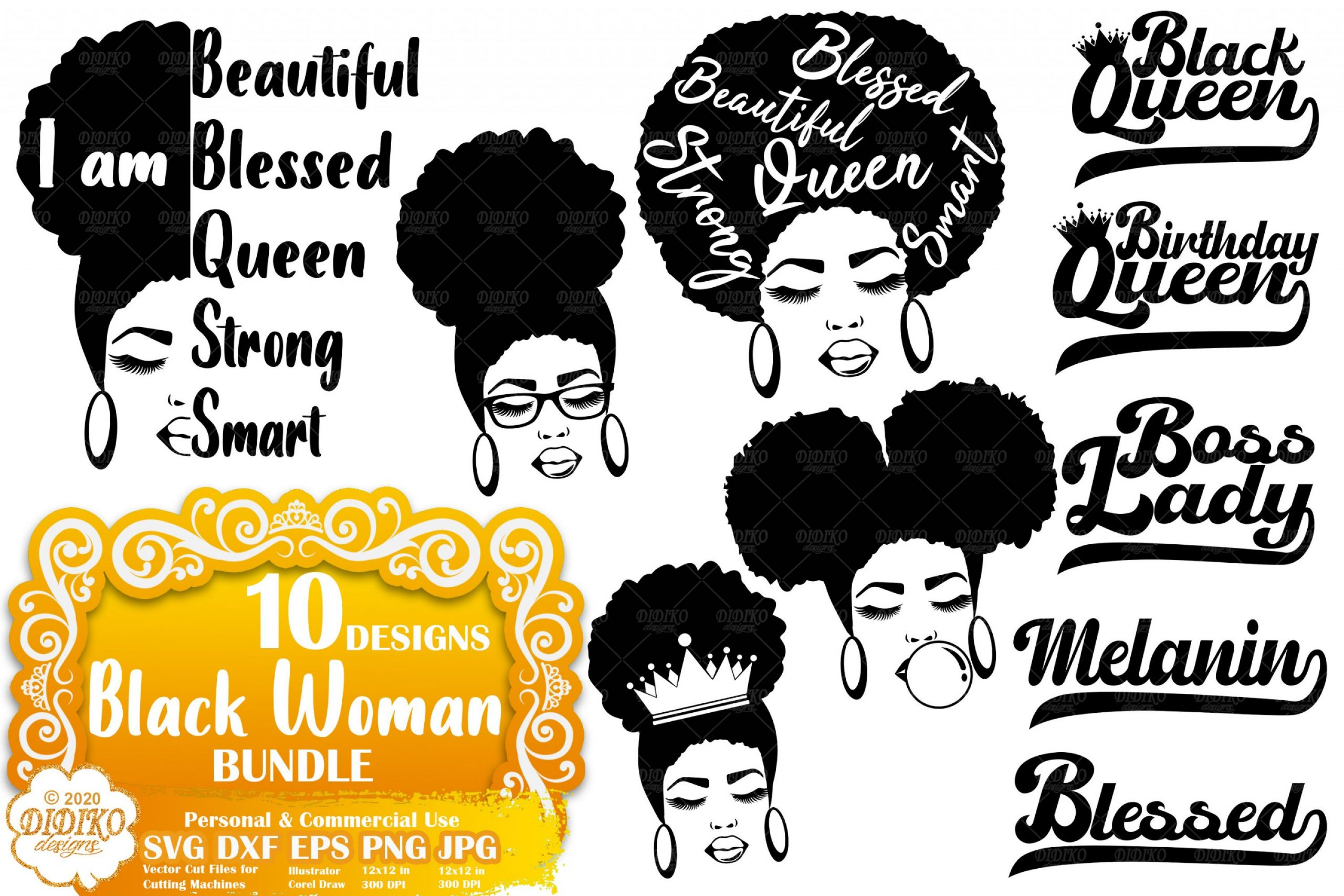 Black Woman SVG Bundle | Afro Woman Bundle SVG
