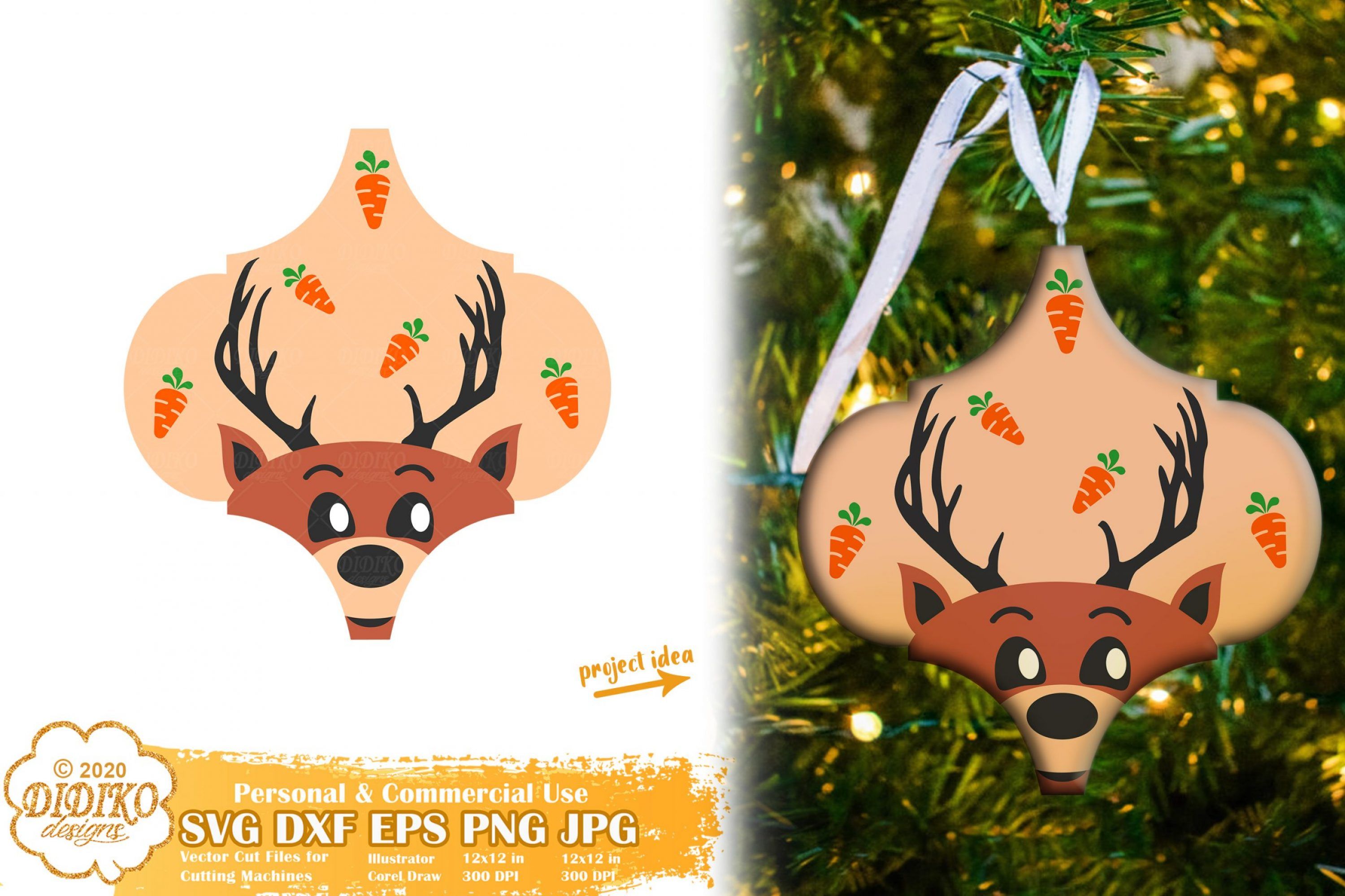 Arabesque Tile Ornament SVG #3, Santa's Reindeer Svg