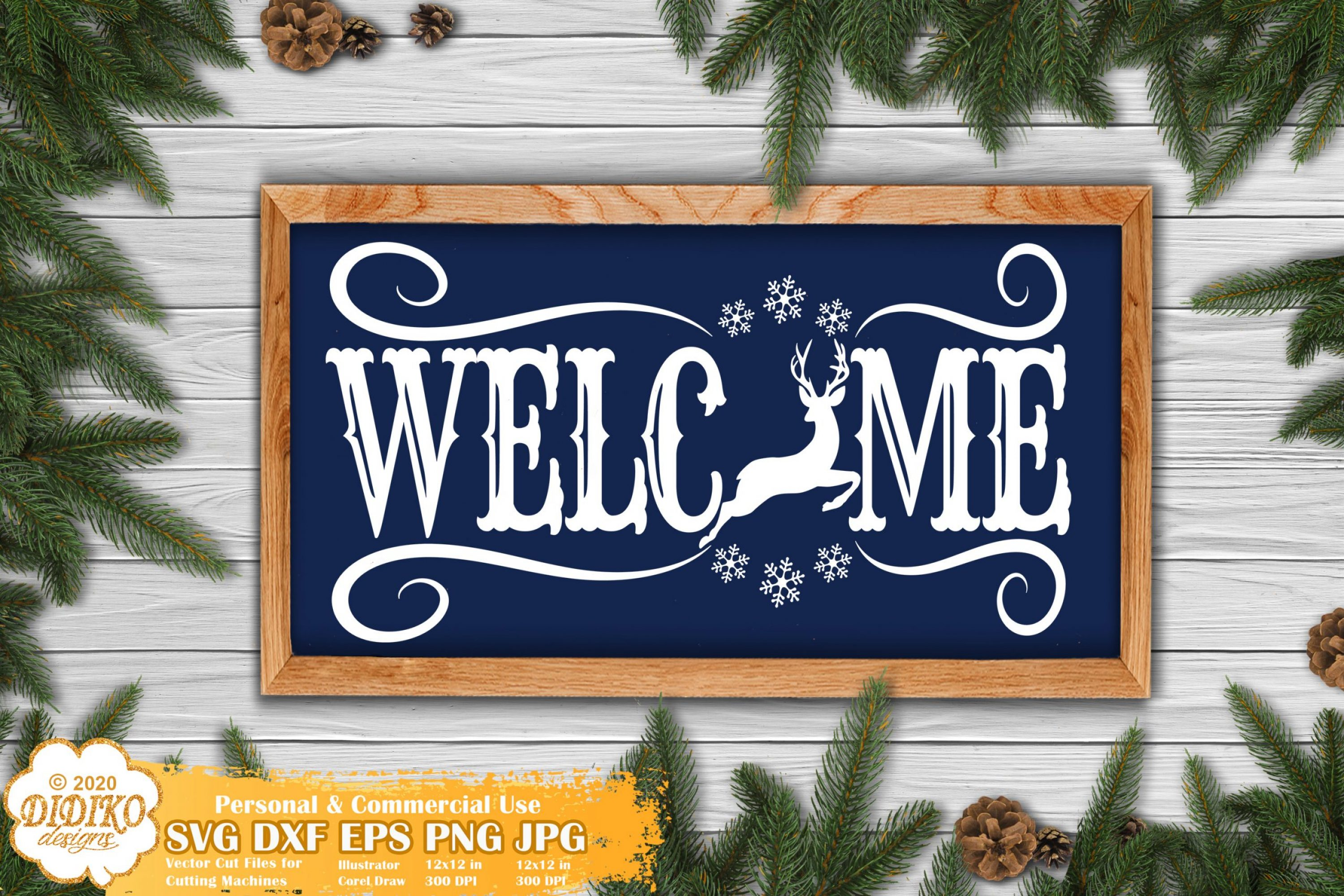 Christmas Welcome Sign SVG | Reindeer Svg Silhouette