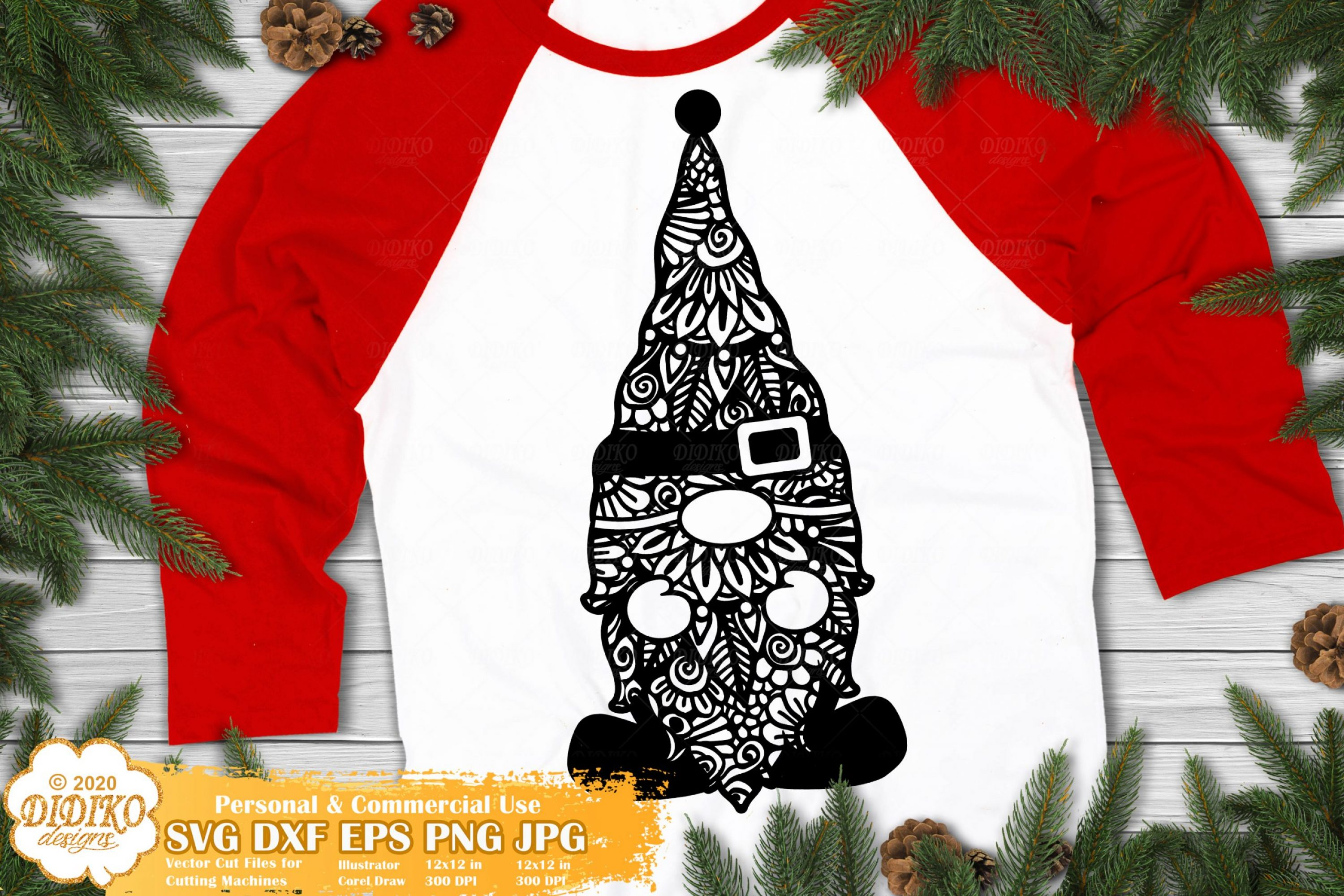 Gnome Zentangle SVG, Christmas Gnomes Svg Cut File