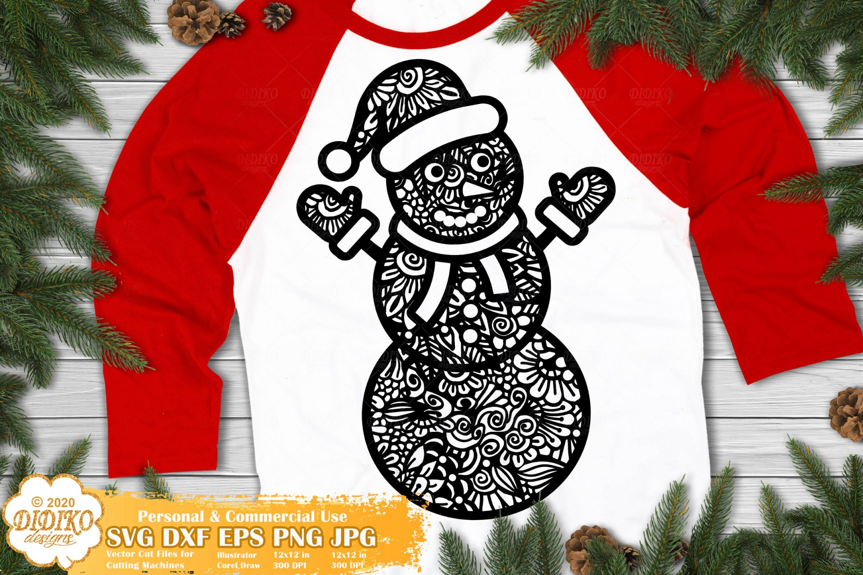 Snowman Zentangle SVG, Christmas Mandala SVG File