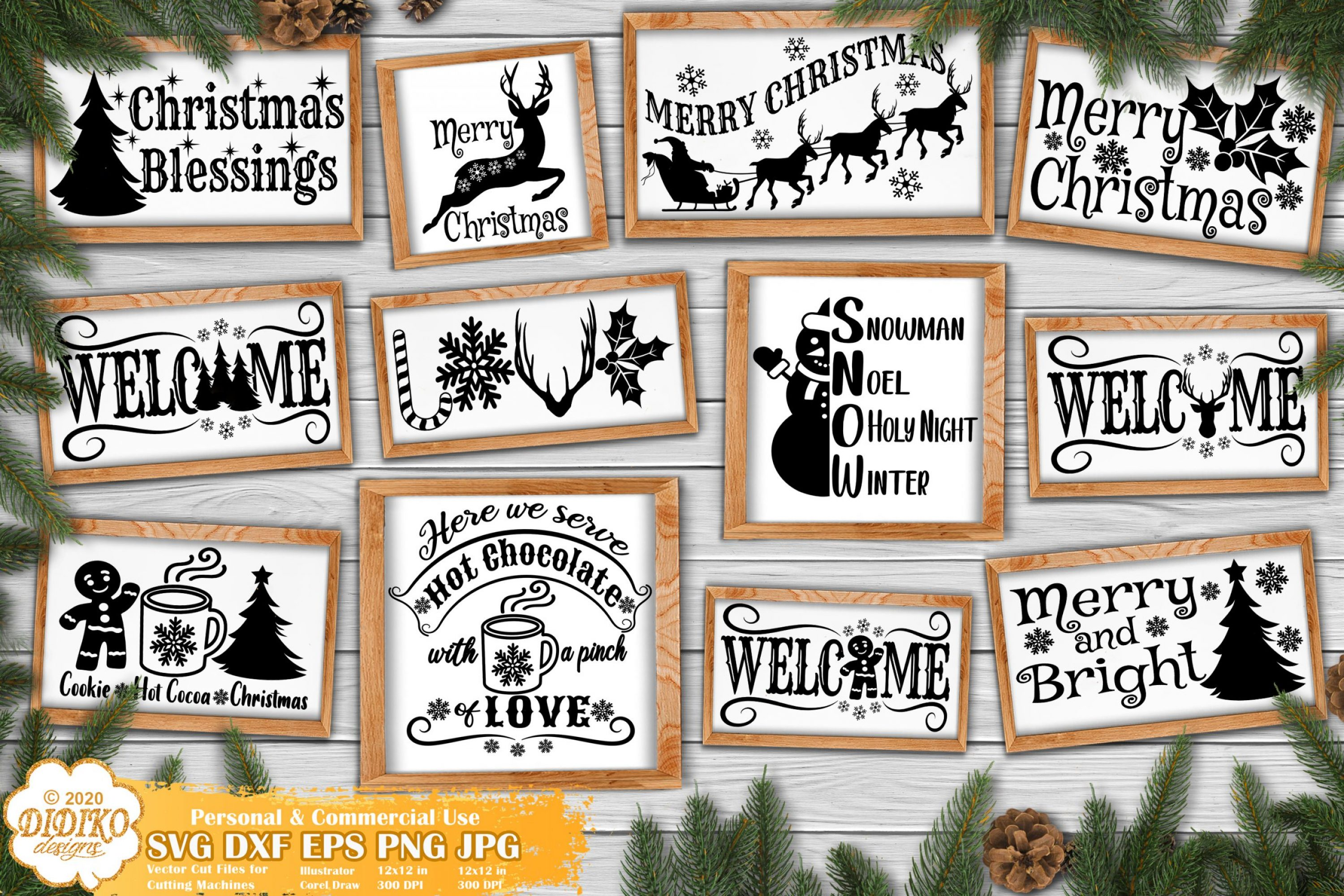 Christmas Signs SVG Bundle, Farmhouse Signs svg files