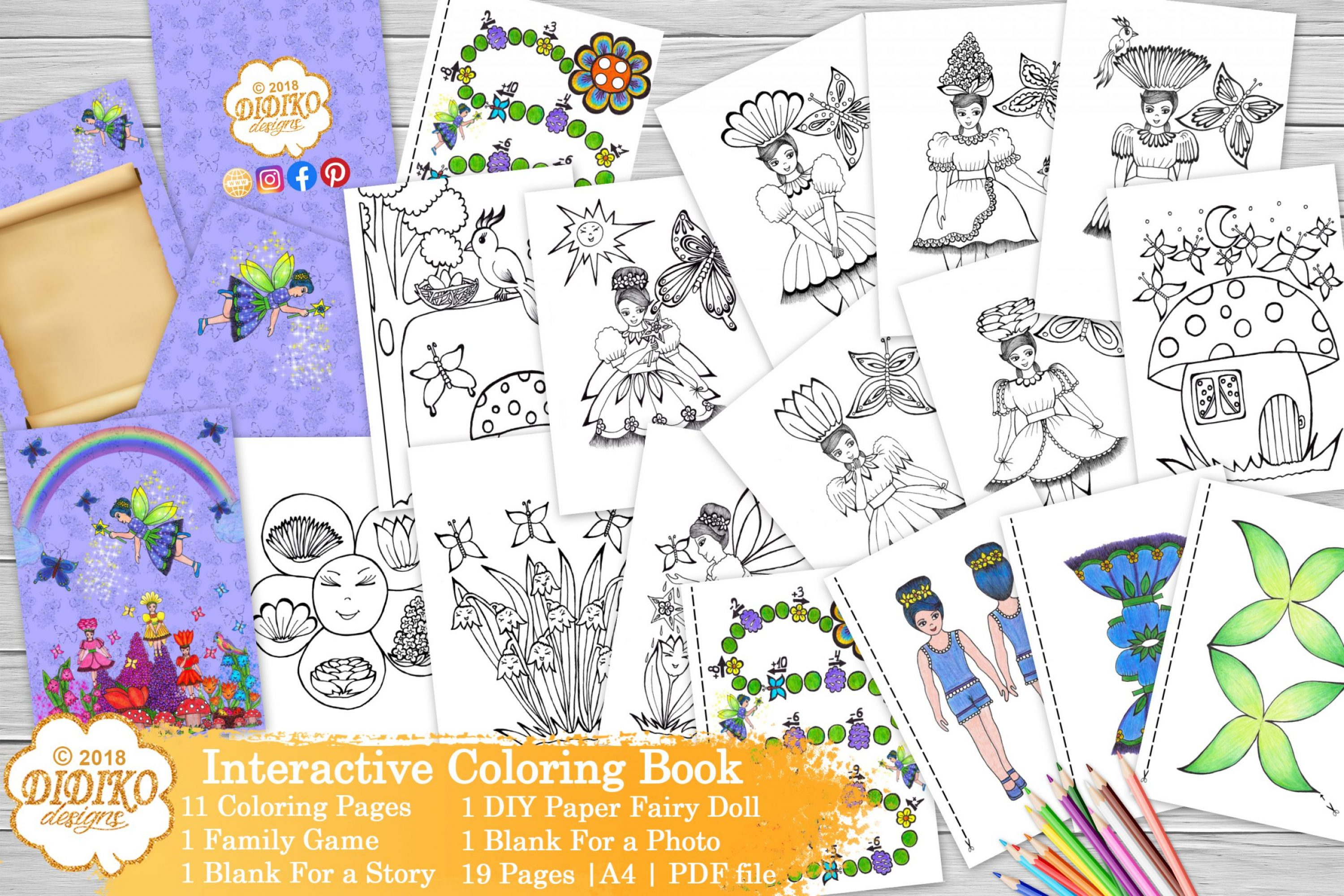 Digital Coloring Book, Fairy Coloring Pages, PDF Files