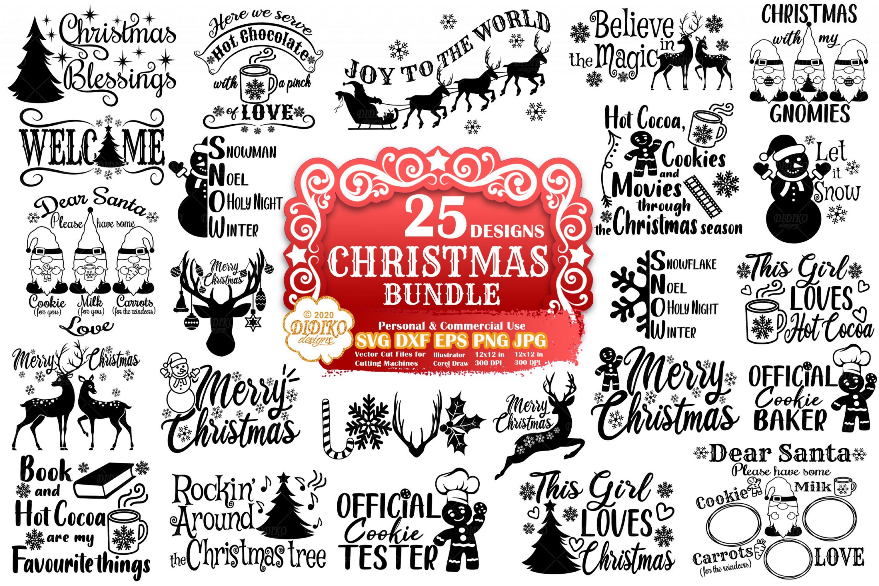 Christmas Bundle SVG, Farmhouse Christmas Svg Files