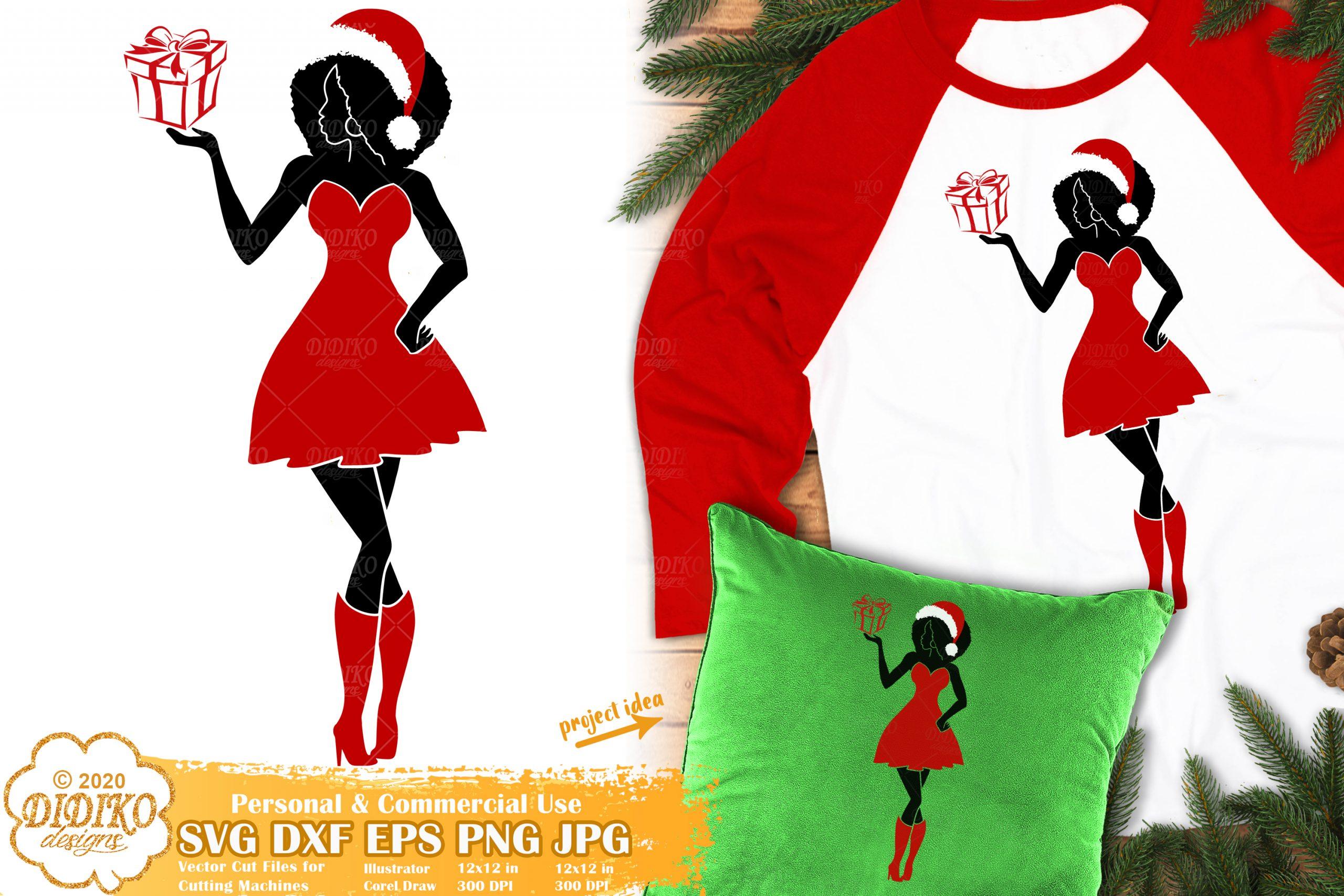 Christmas Black Woman SVG #3