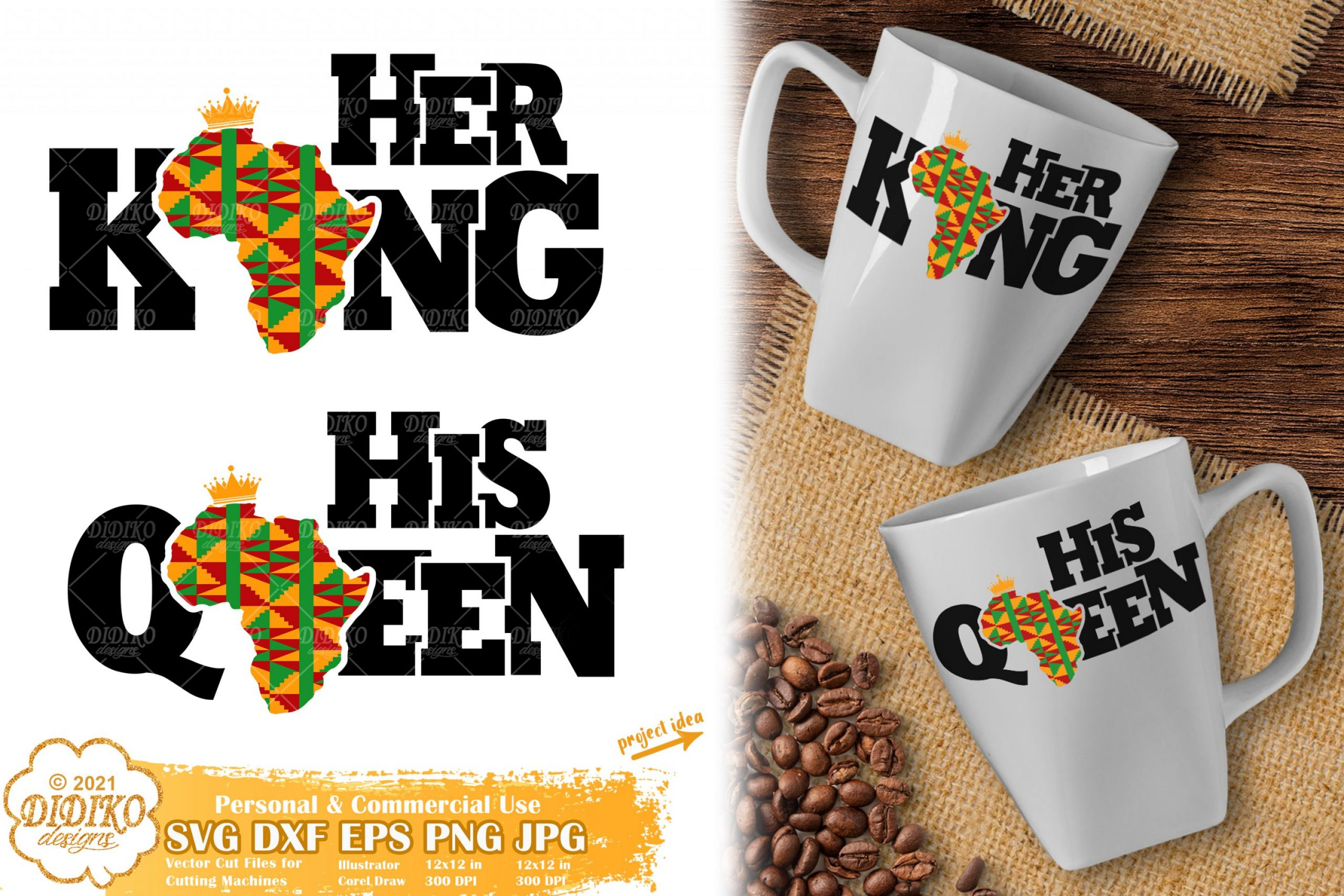 Her King His Queen SVG, Black History Svg, Ankara Svg