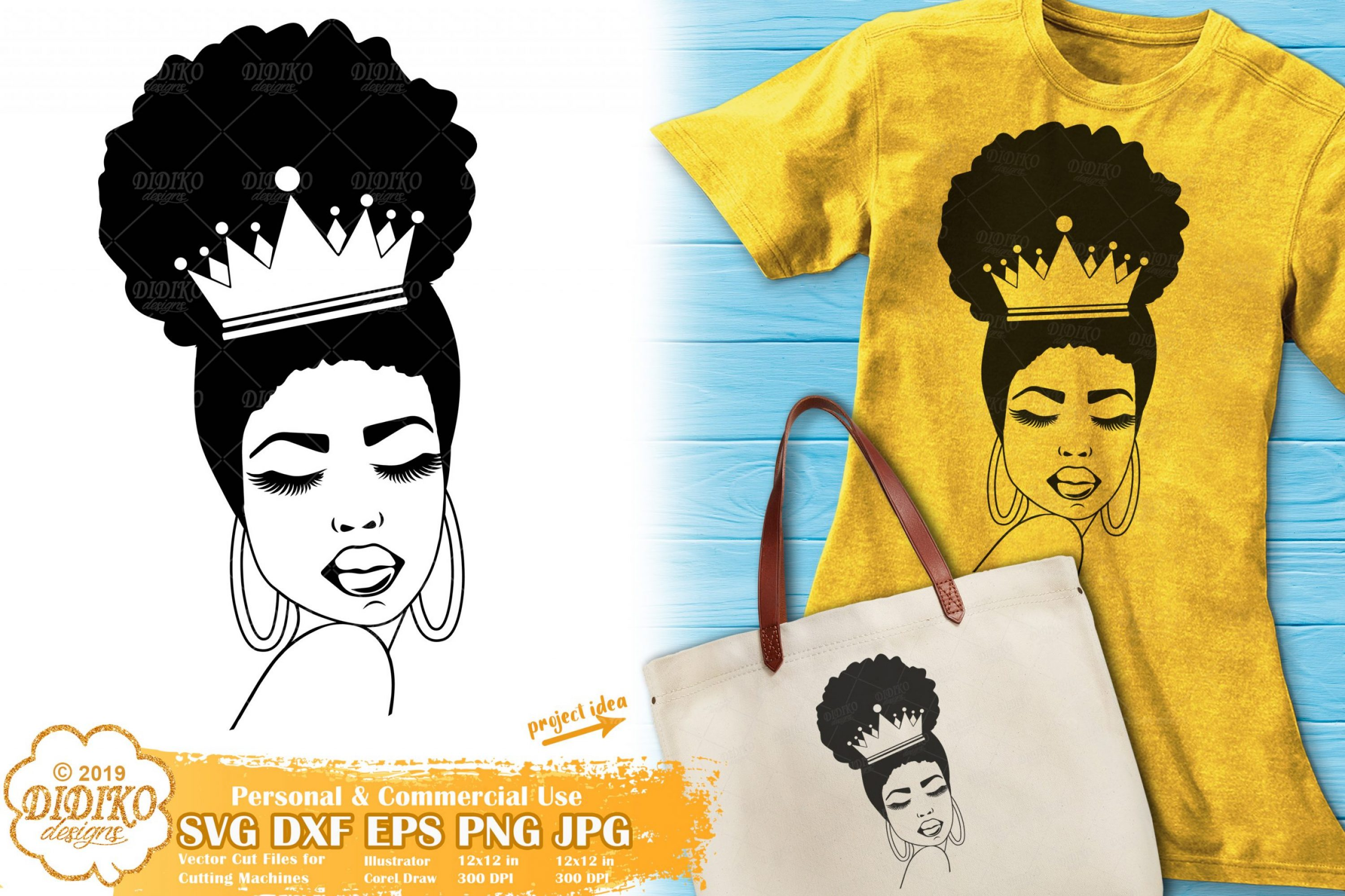 Afro Queen SVG Silhouette #1, Black Woman crown Svg