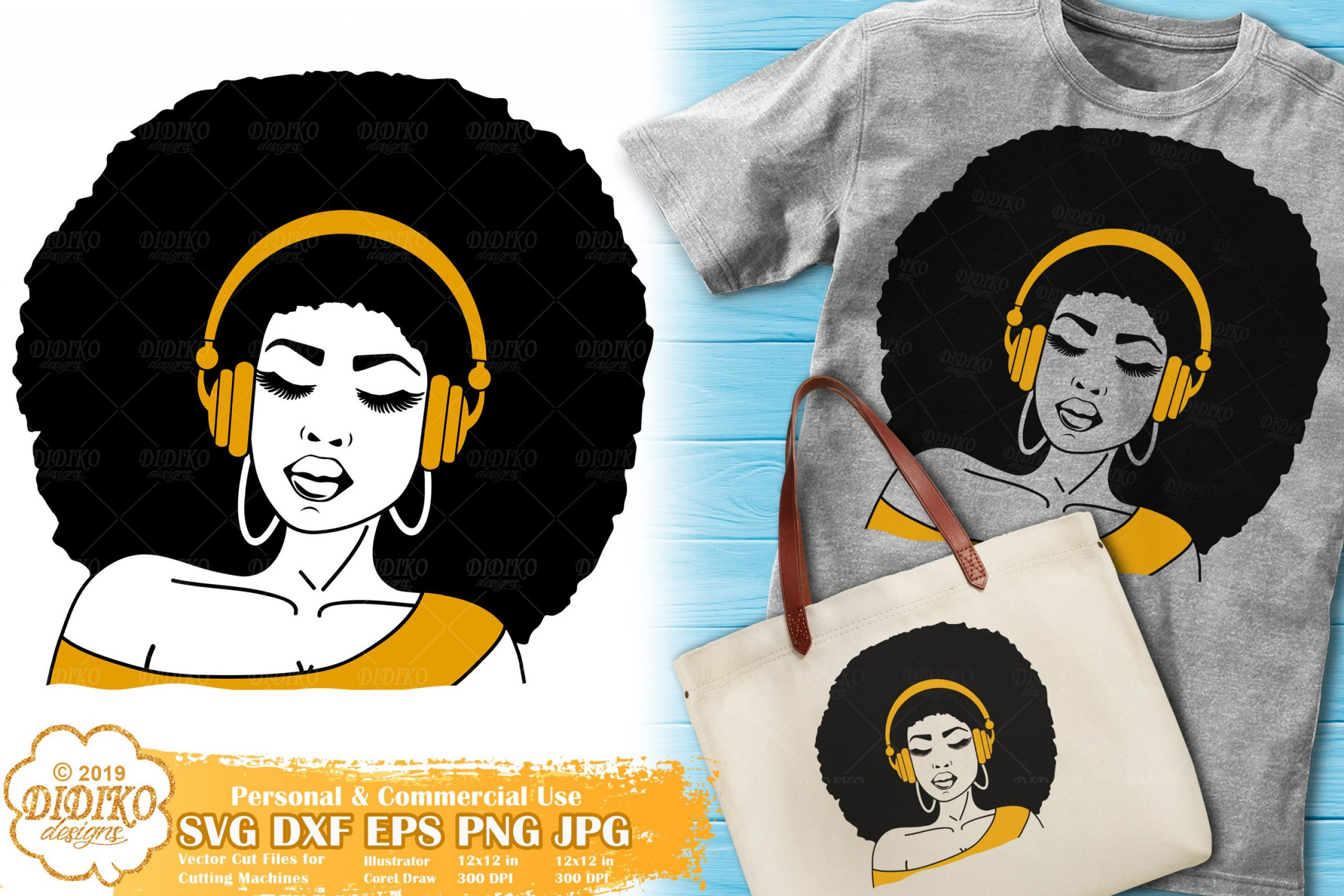 Black Woman With Headphones SVG, Afro Girl Svg File