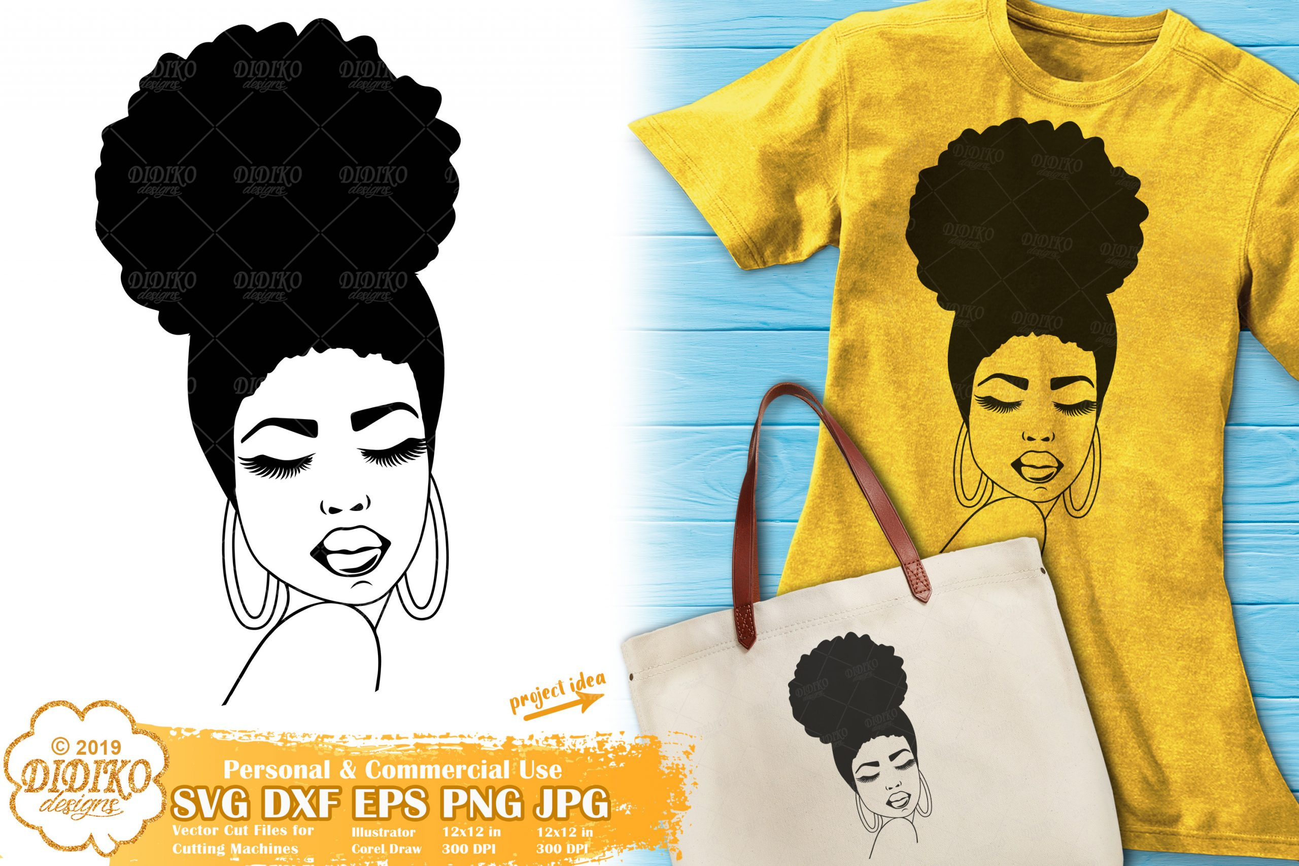Black girl with afro silhouette