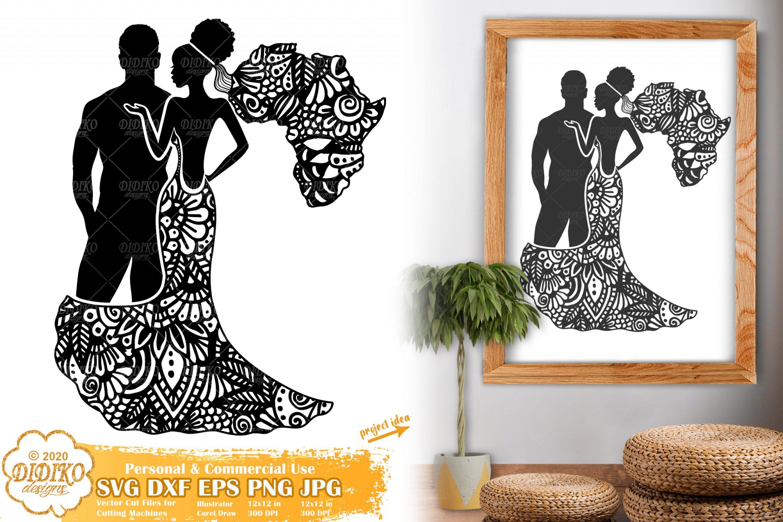 Black Couple SVG #1, Afro Wedding Svg, Zentangle Svg