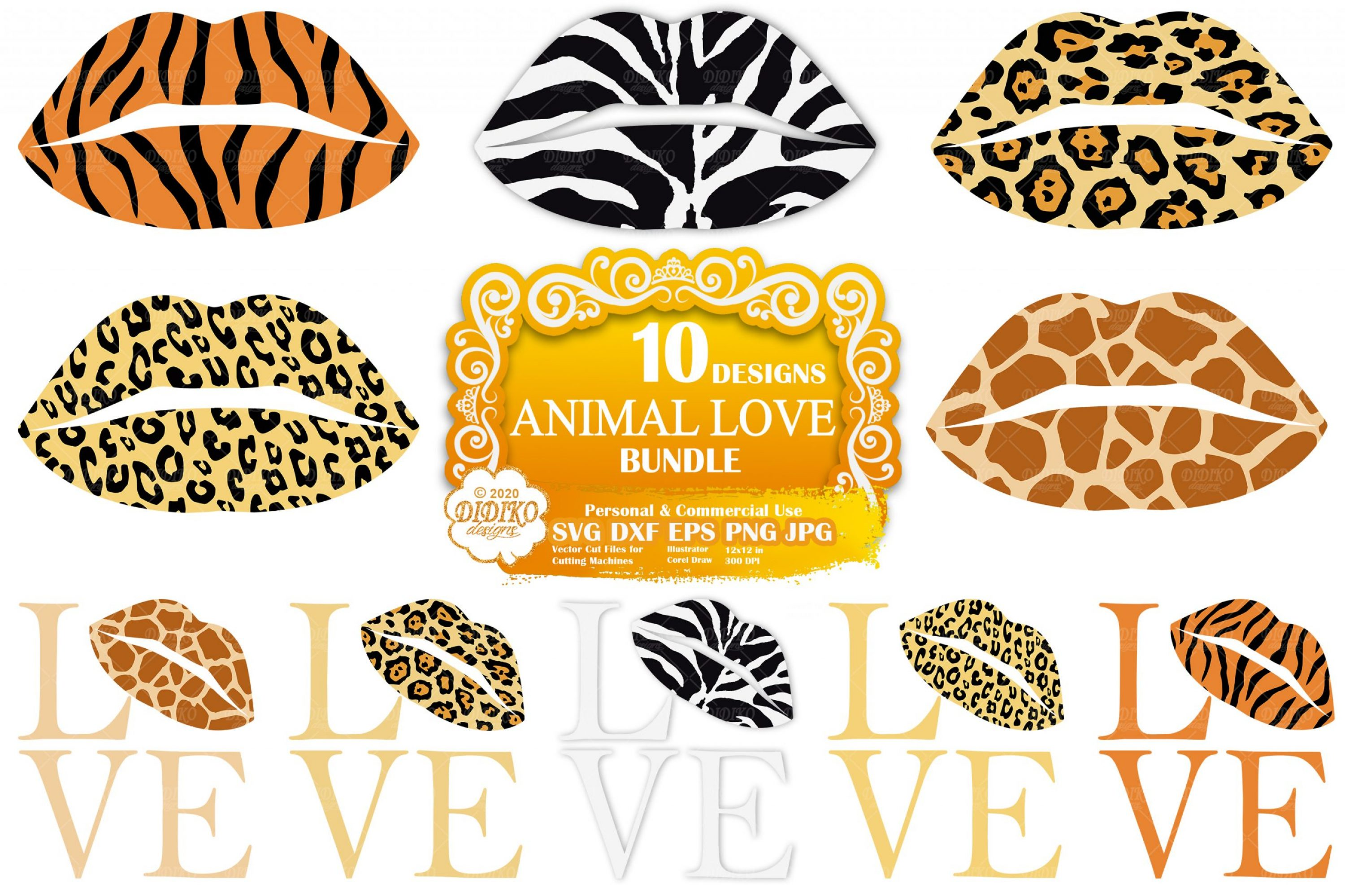 Animal Print Lips SVG Bundle, Leopard Print Svg File