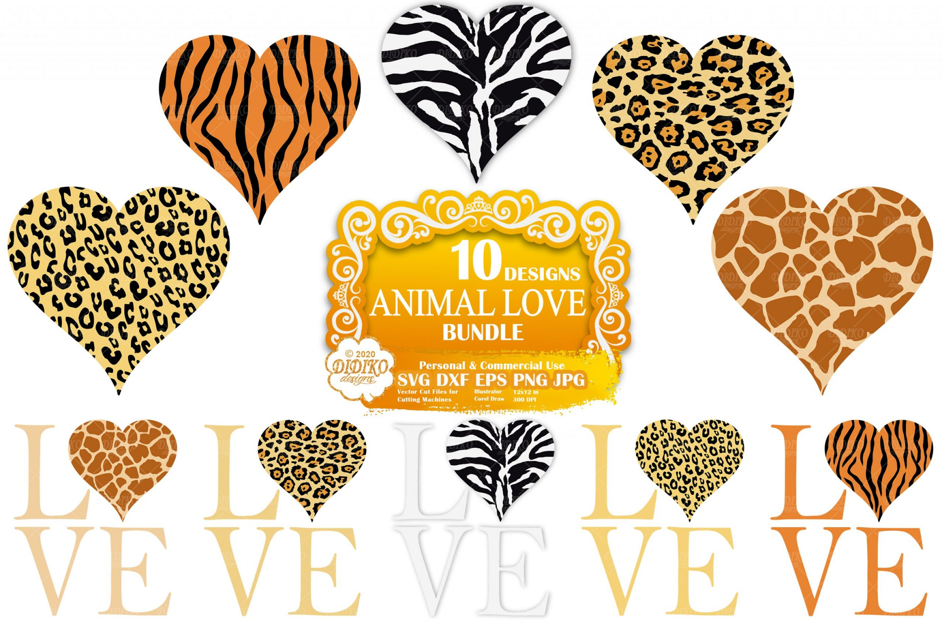 Animal Print Heart SVG Bundle, Leopard Print Svg