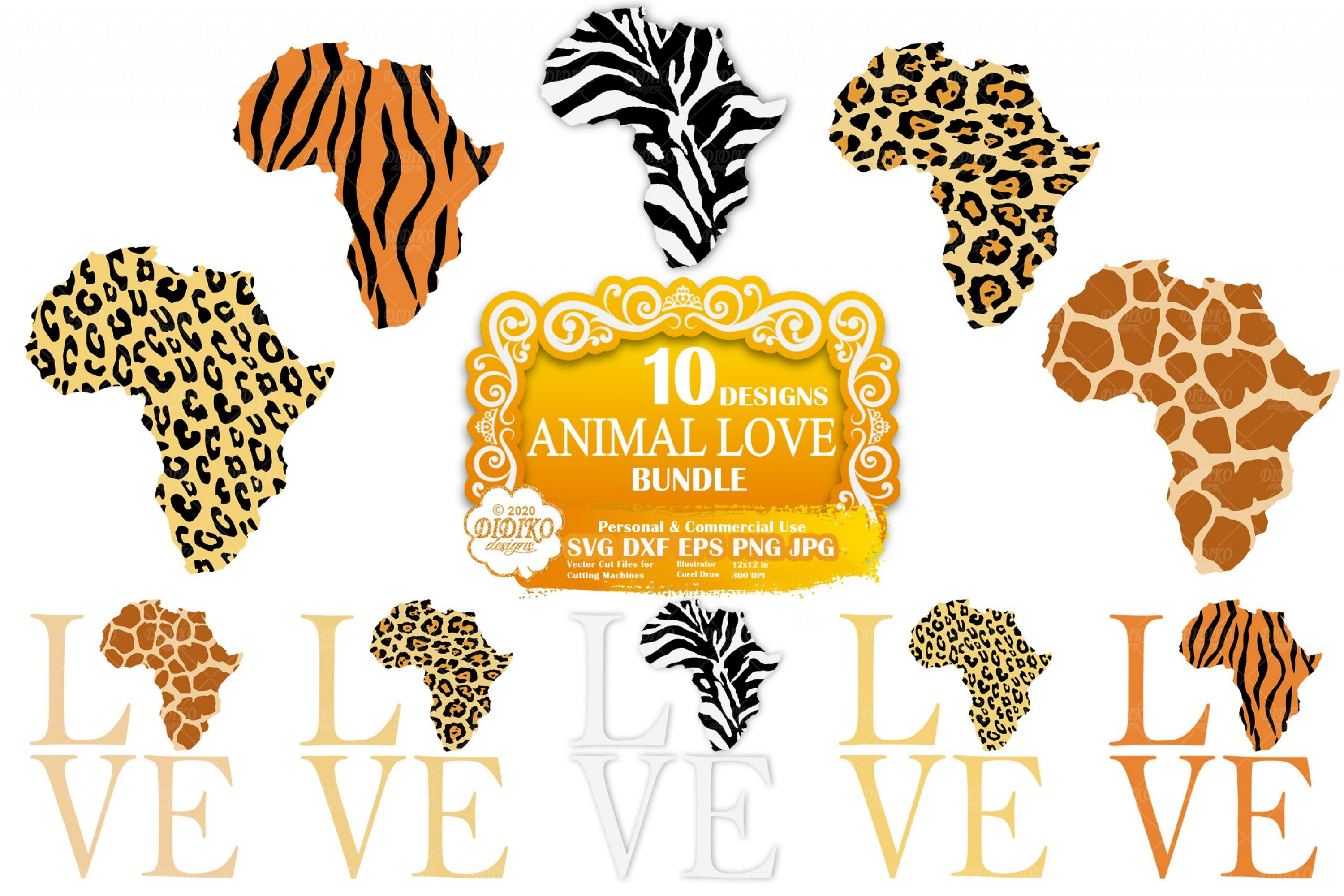 Animal Print Africa SVG Bundle, Leopard Print Svg File