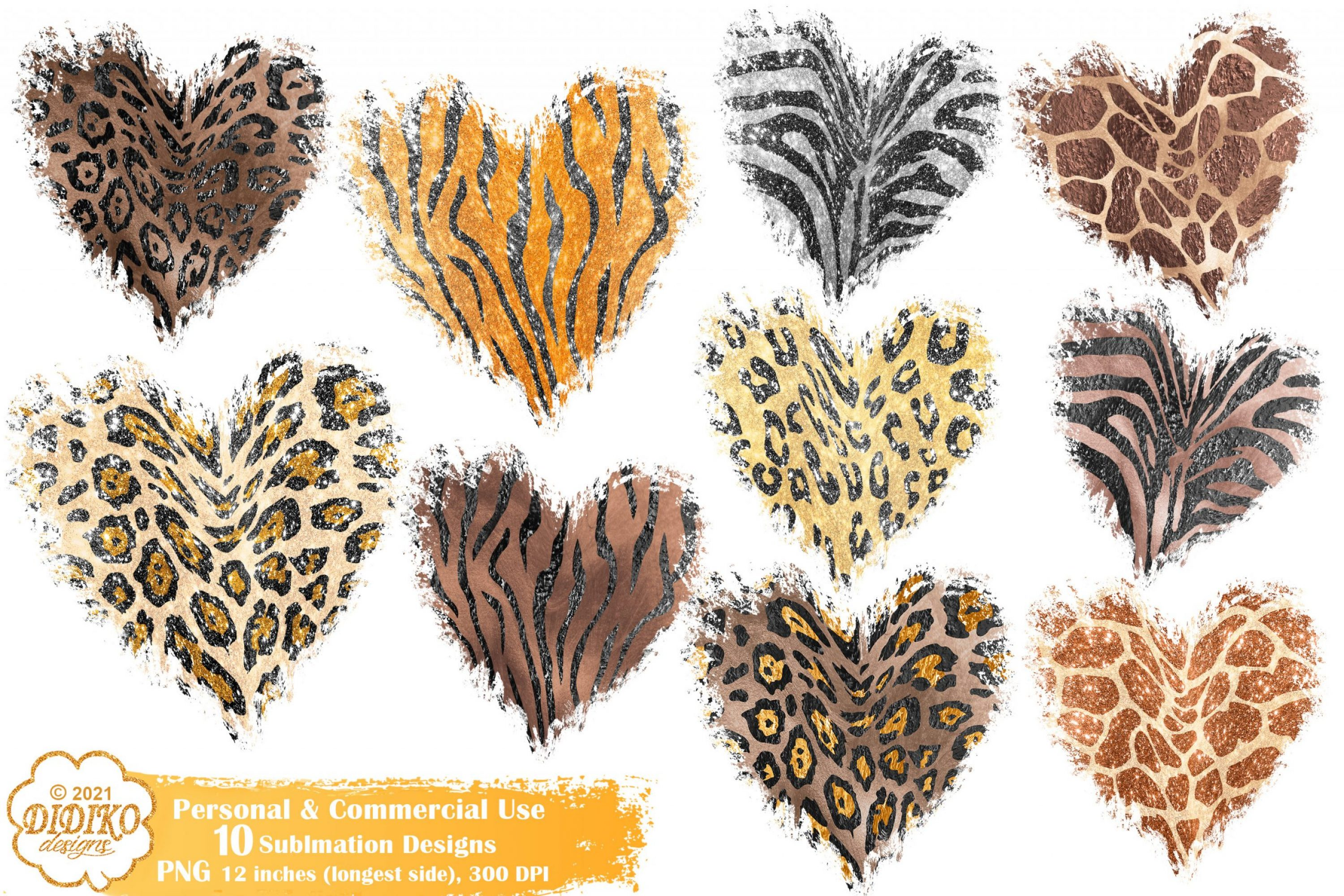 Animal Print Background Sublimation Bundle, Heart Png