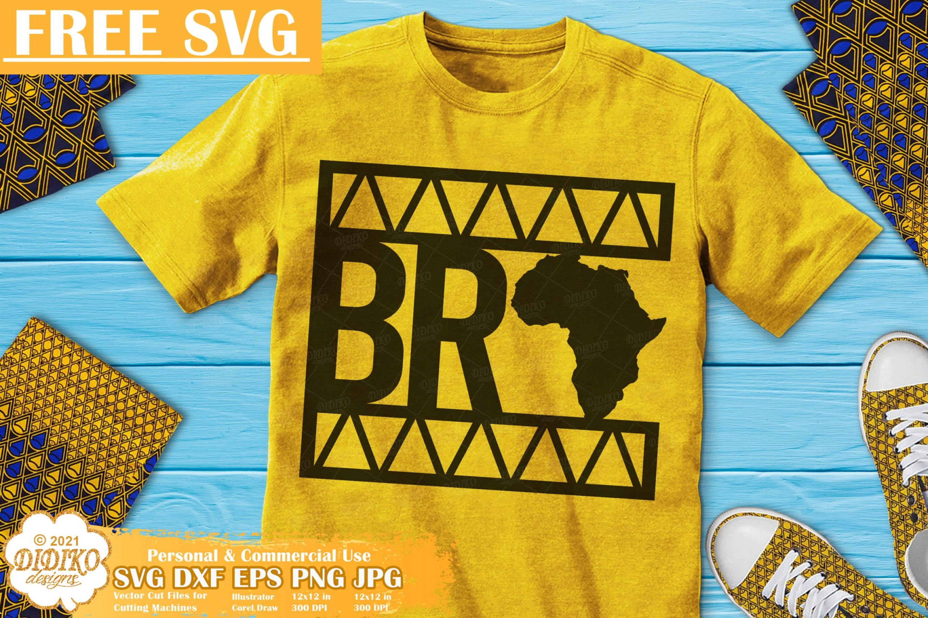 Black Bro Free SVG, Black Boy Svg File, Ankara Svg