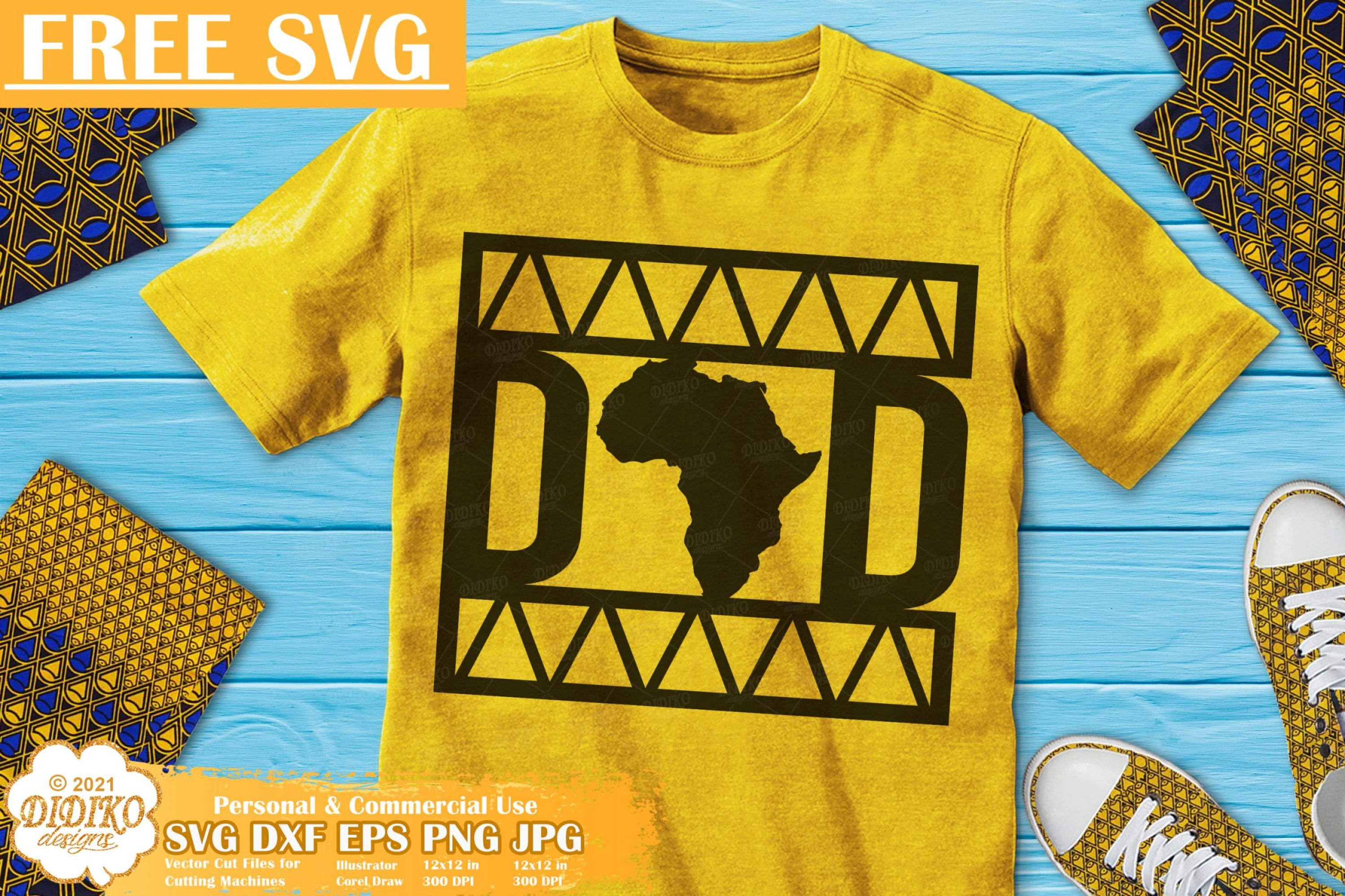 Black Dad Free SVG, Black History Svg, Ankara Svg