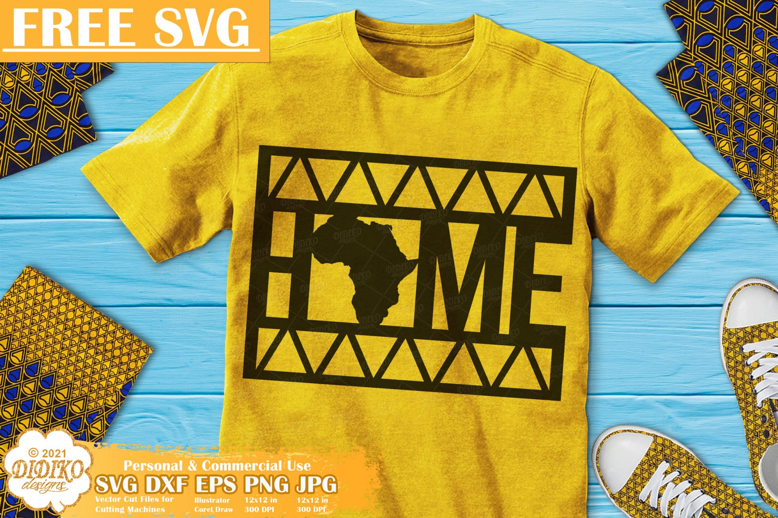 Home Africa Free SVG, Afro Roots Svg File, Ankara Svg