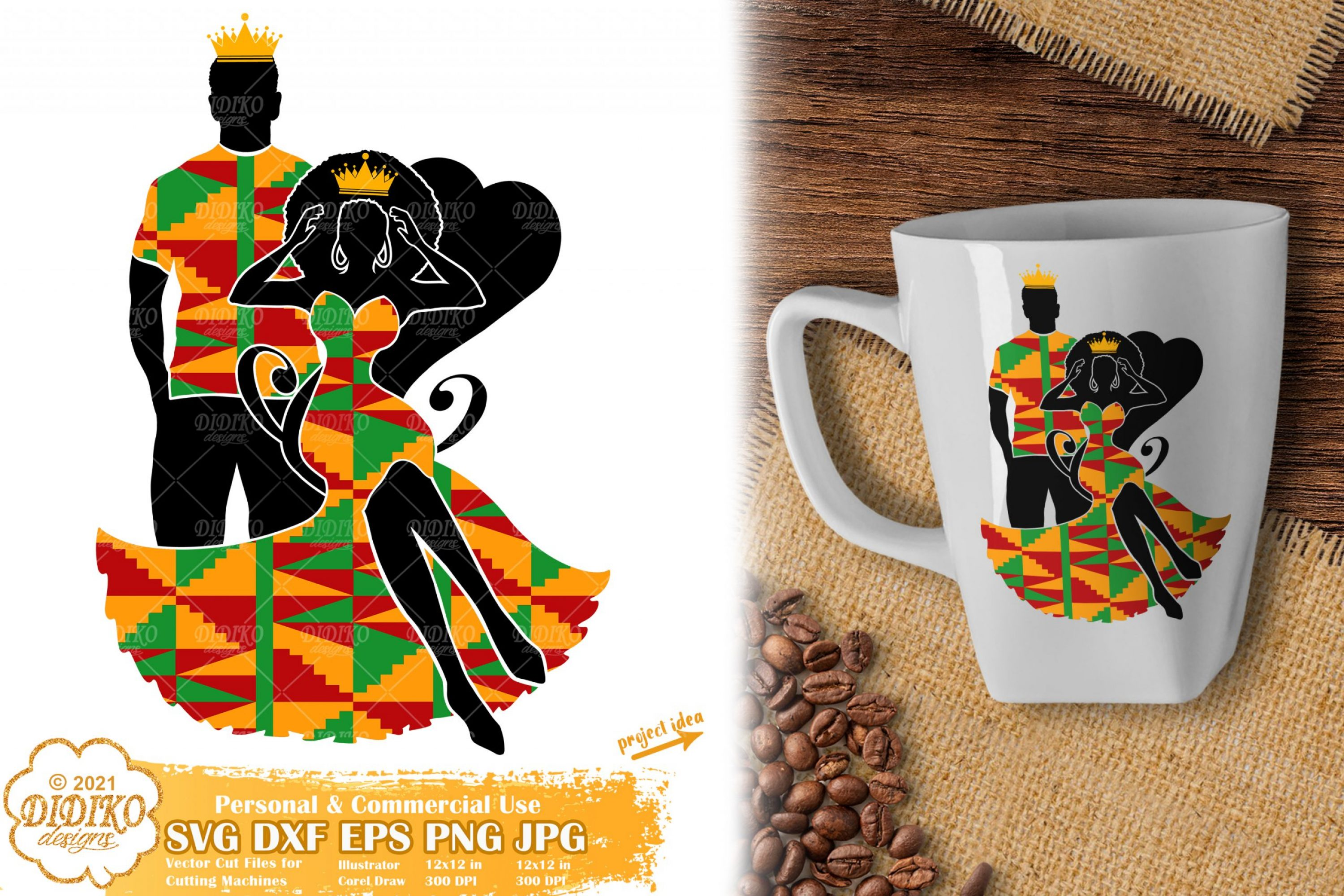 Black Queen and King SVG, Black History Svg, Ankara