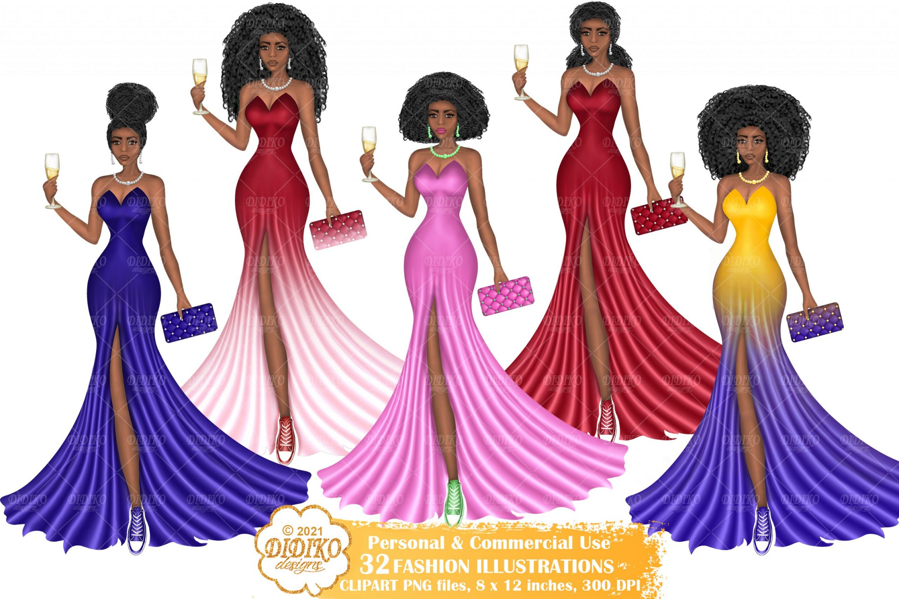 Black Woman Sorority Clipart, Chucks and Pearls Png