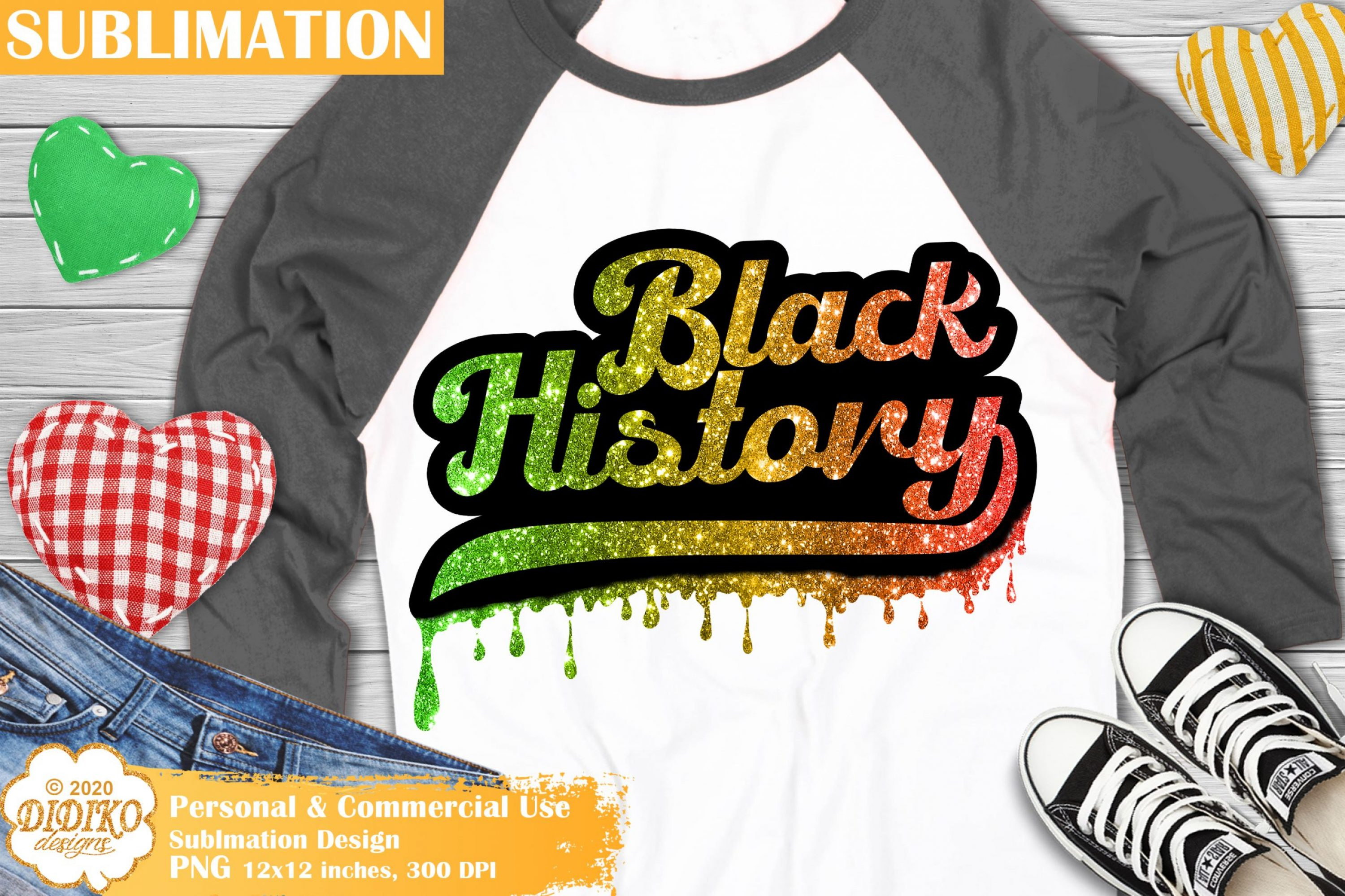 Black History Sublimation Design, Dripping PNG File
