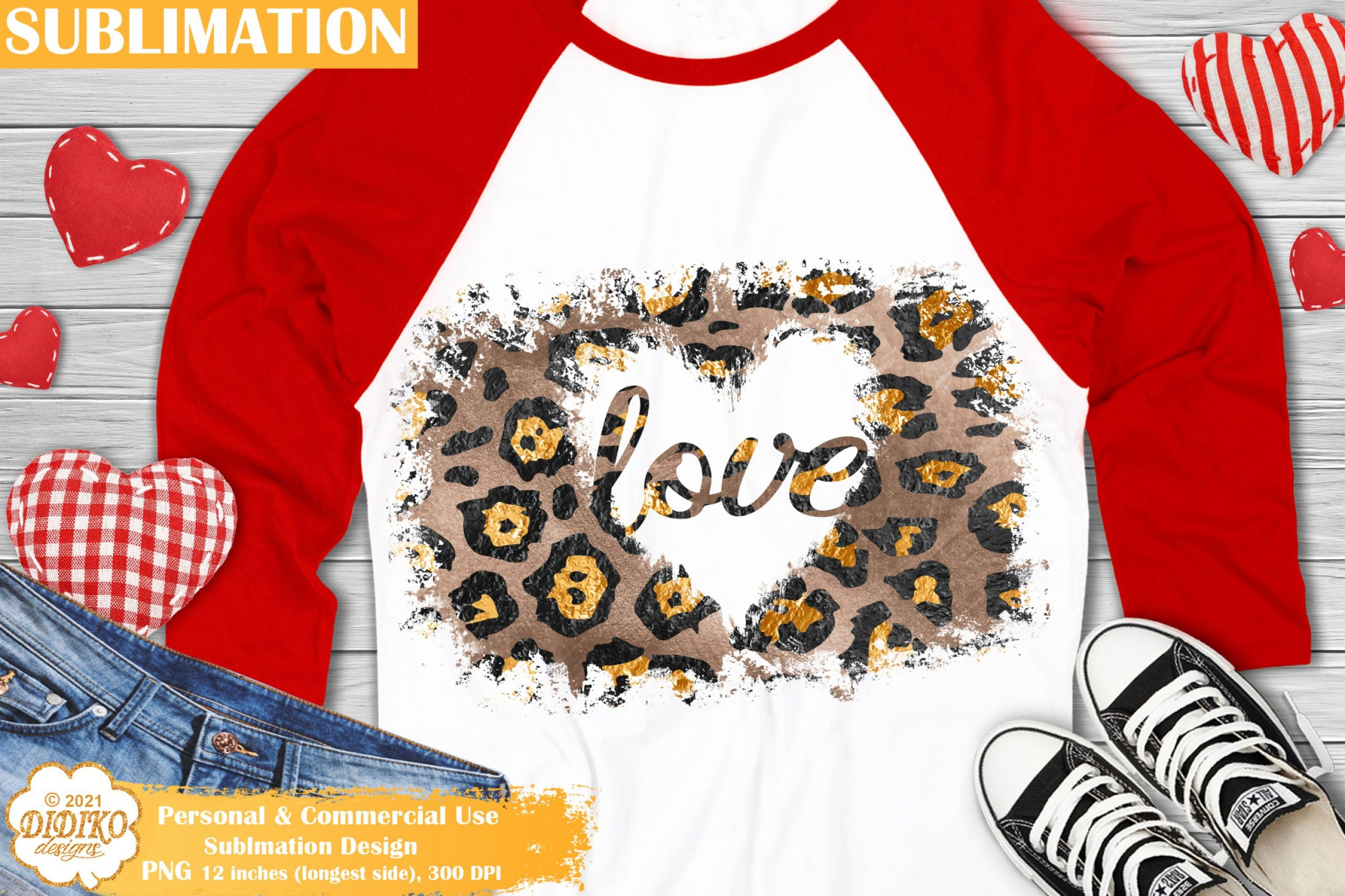 Leopard Heart PNG, Valentines Day Sublimation Design
