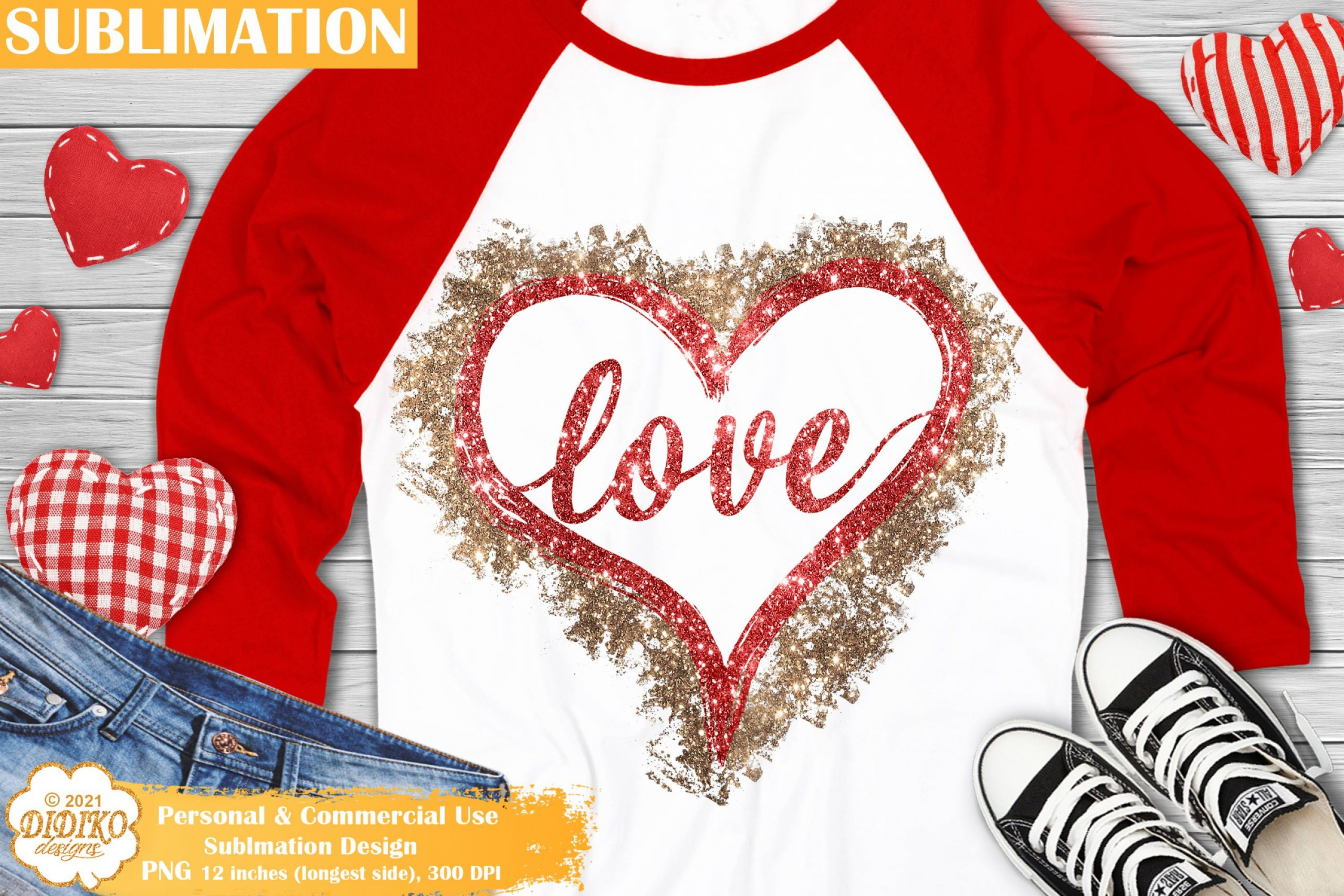 Love Hearts Sublimation Design, Valentines Day Png file