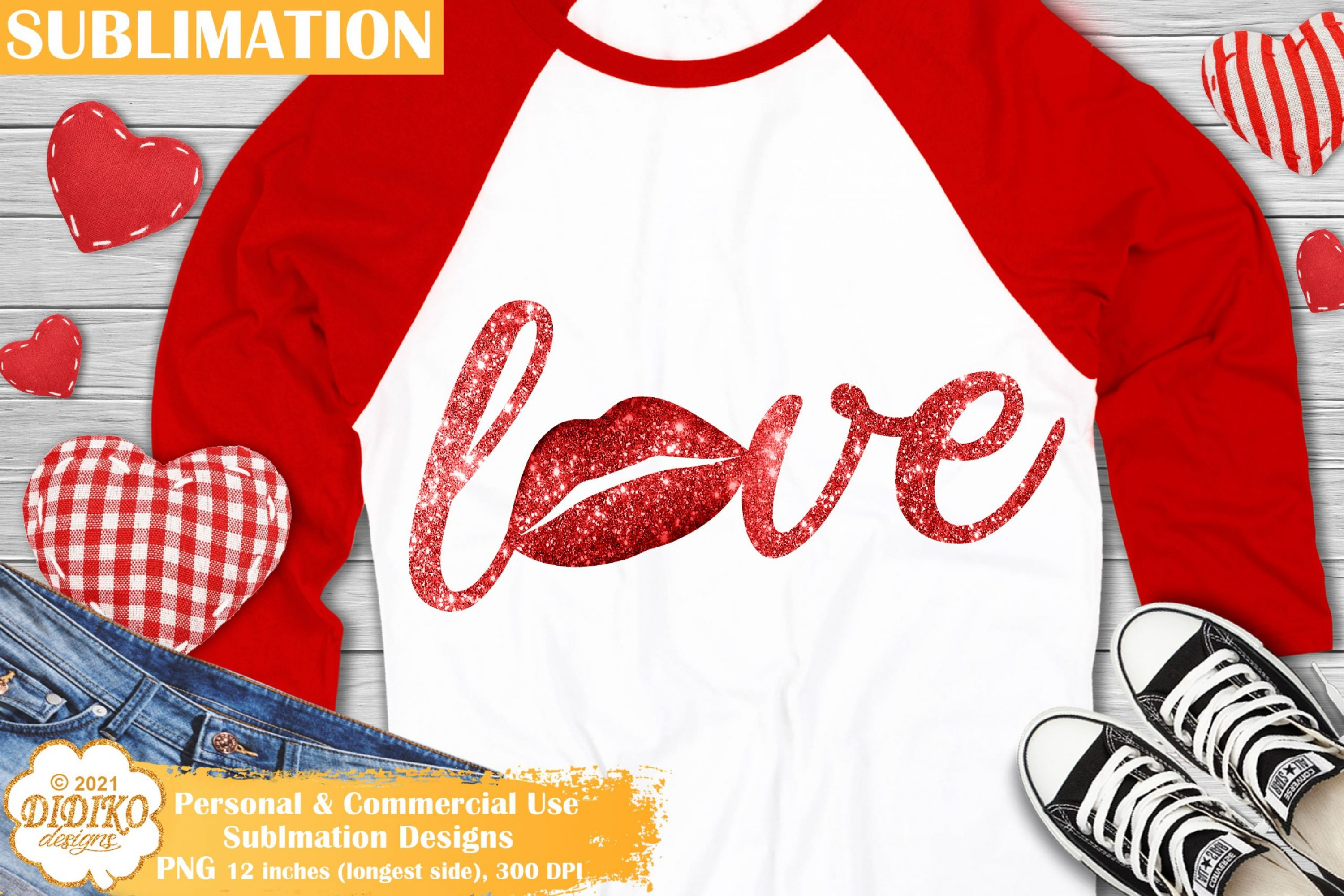 Love Lips Sublimation Design, Valentines Day Png File