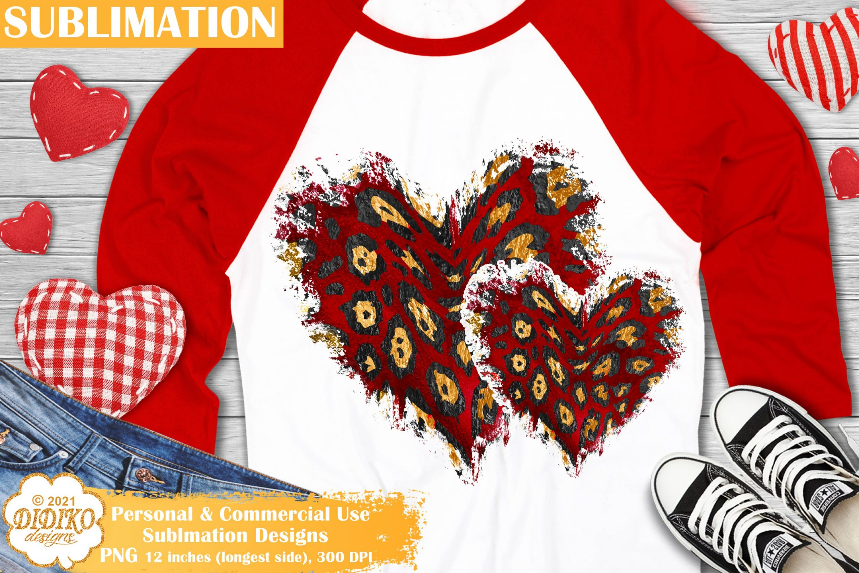 Leopard Hearts PNG, Valentines day Sublimation design