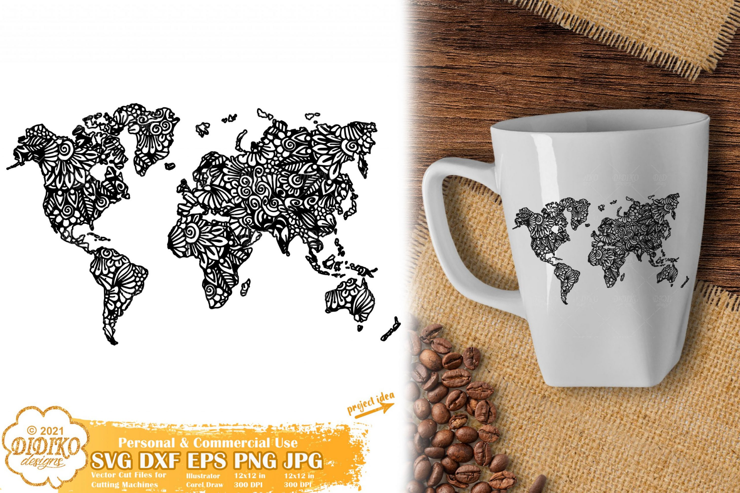 Zentangle World Map SVG, World Map Mandala Svg File