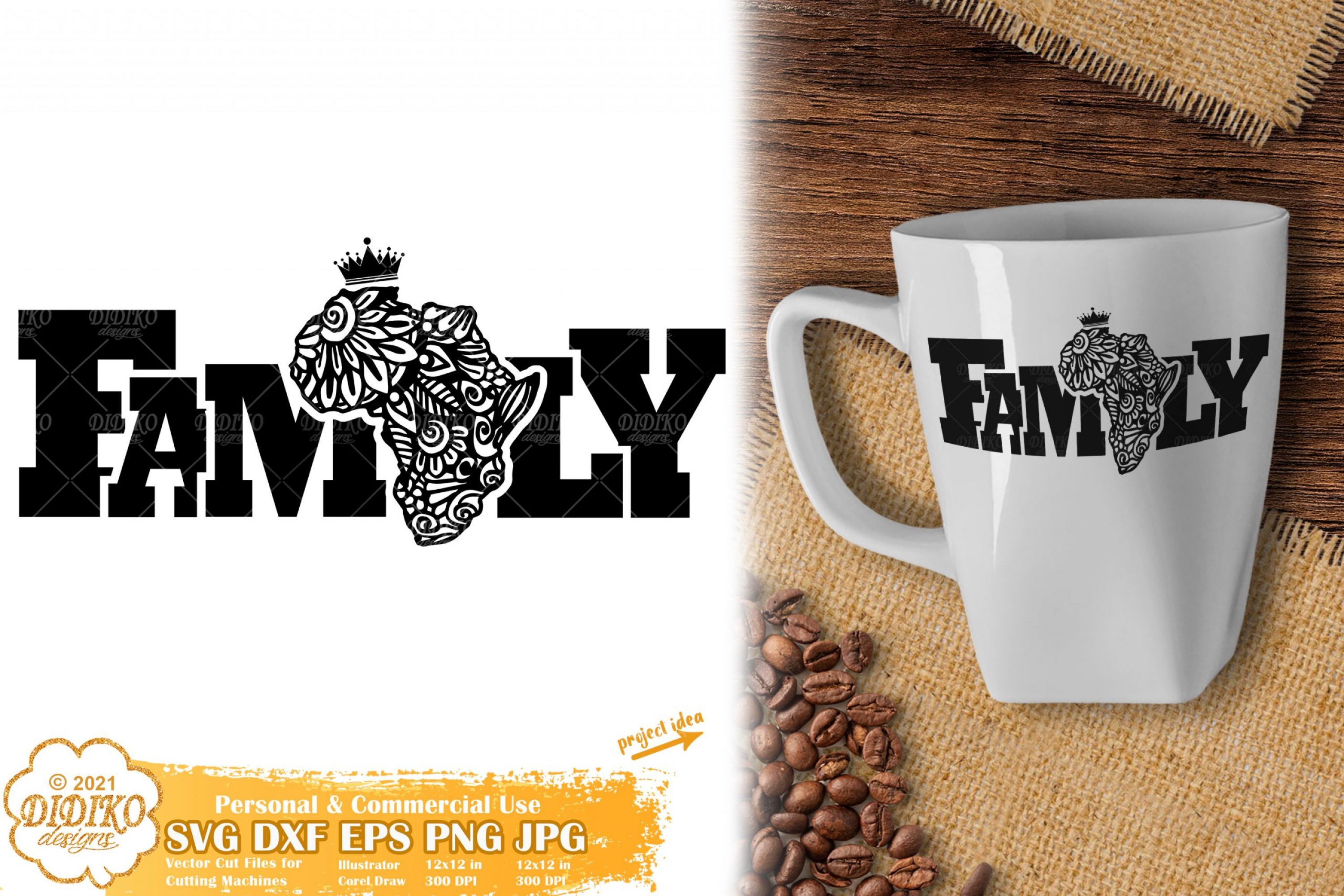 Zentangle Africa Family SVG, Black history svg, mandala