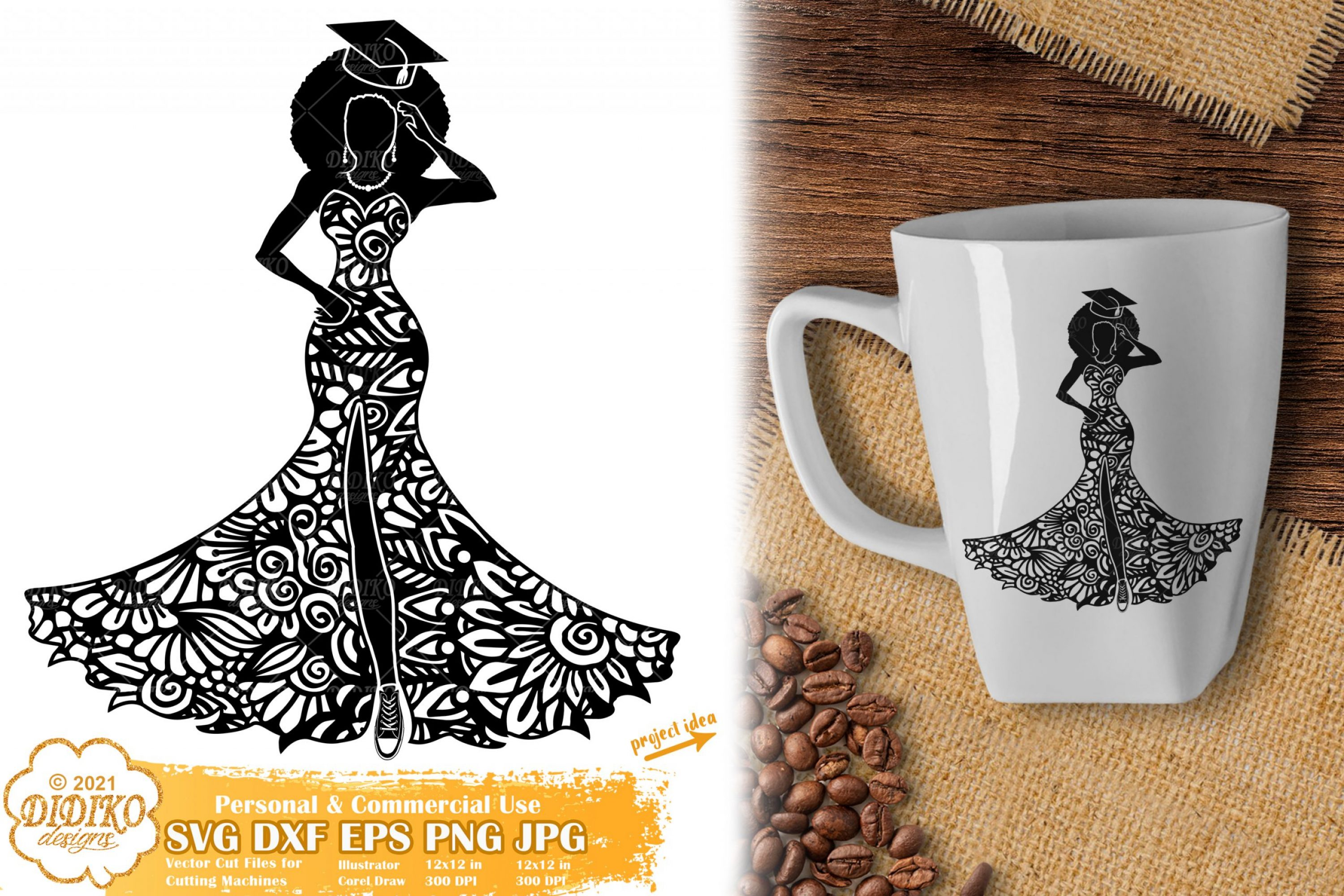 Zentangle Graduation Woman SVG, Black Woman Svg