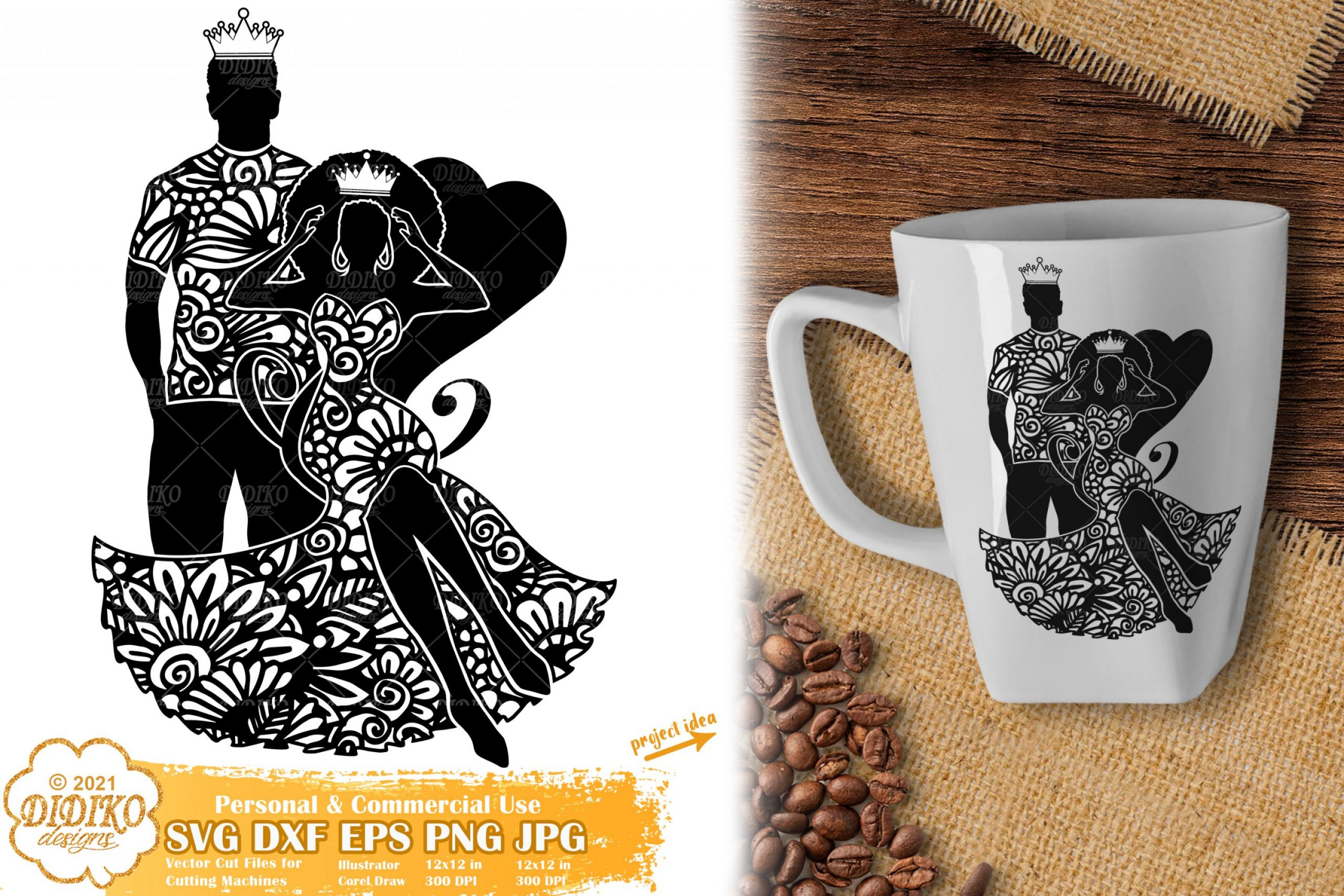 Zentangle King and Queen SVG, Black Woman Svg File