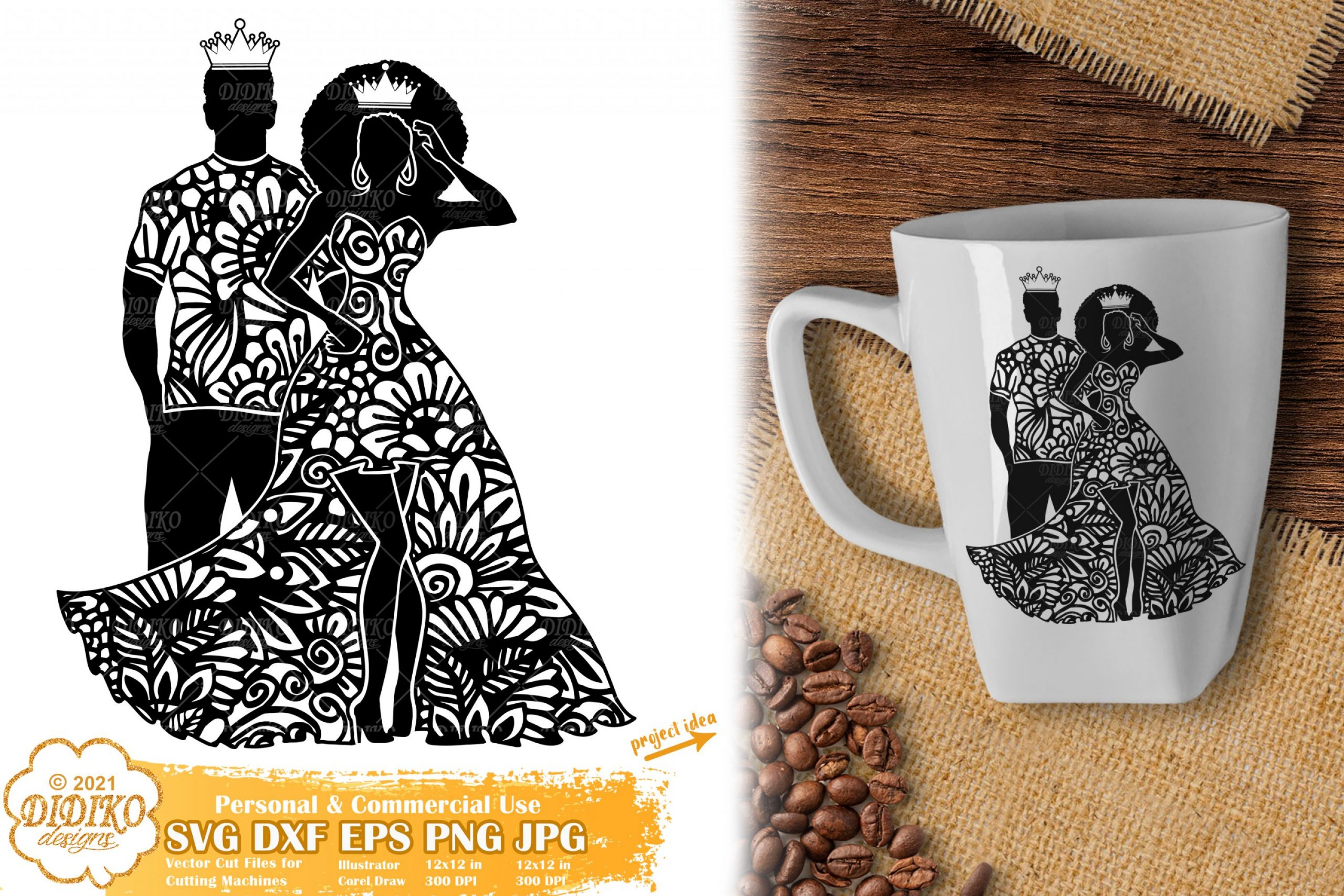 Zentangle Queen and King SVG, Black Woman Svg File