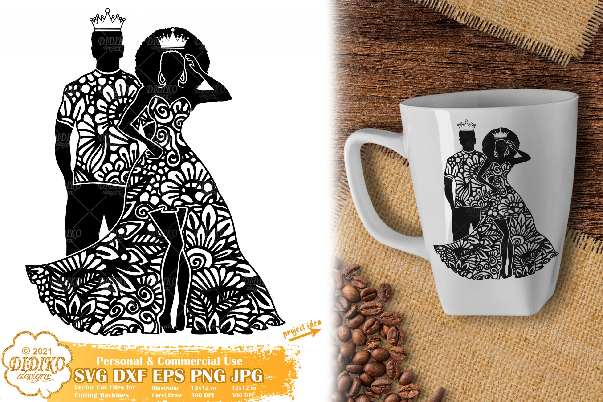 Zentangle Queen and King SVG