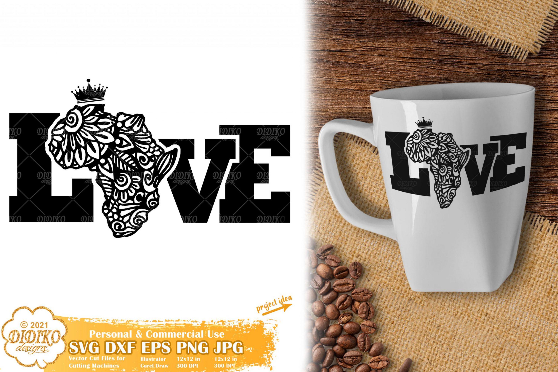 Zentangle Africa Love SVG, Black History Svg, Mandala
