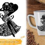 Zentangle Black Queen SVG