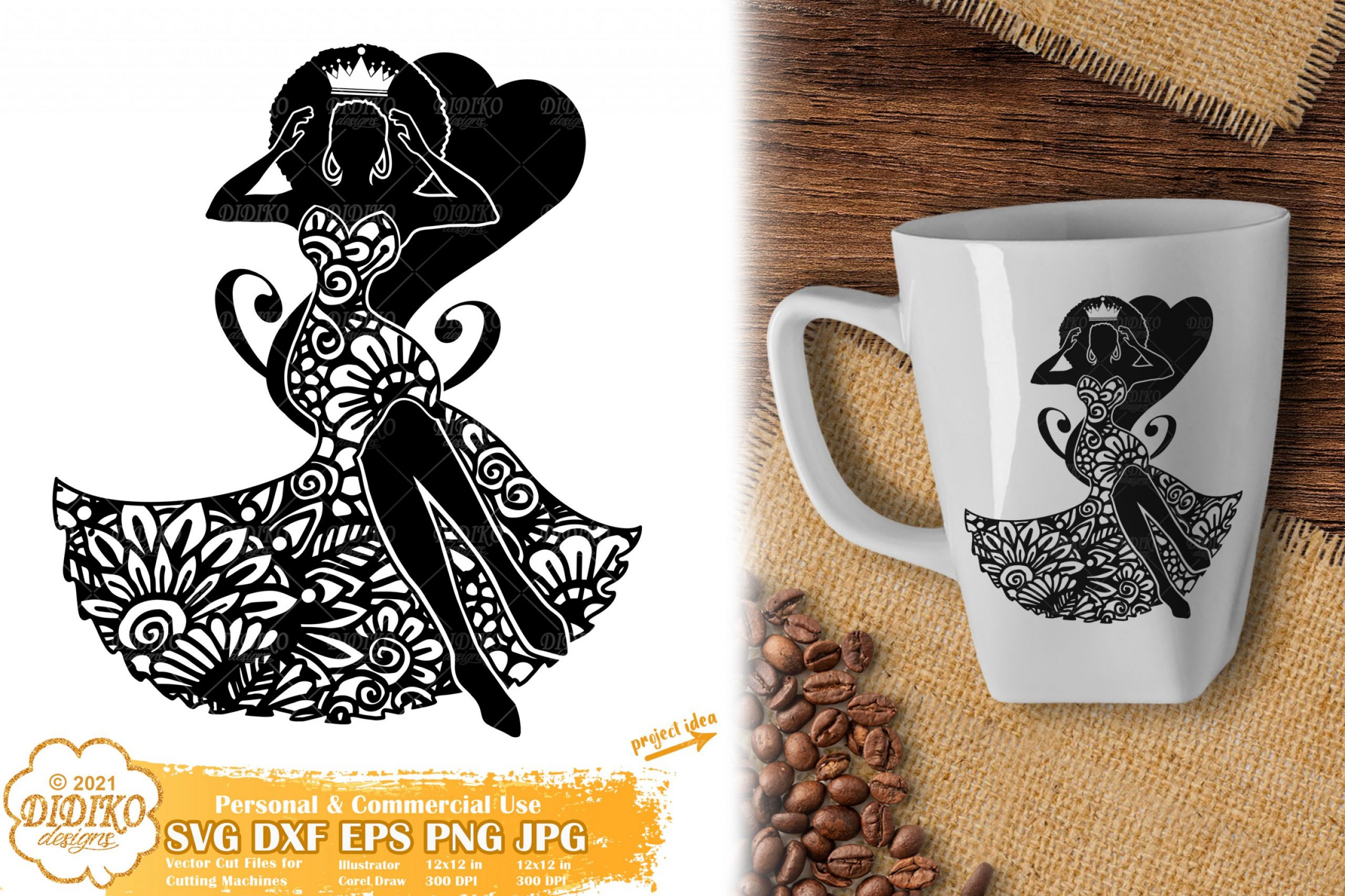 Zentangle Black Queen SVG, Black Lady Svg, Melanin