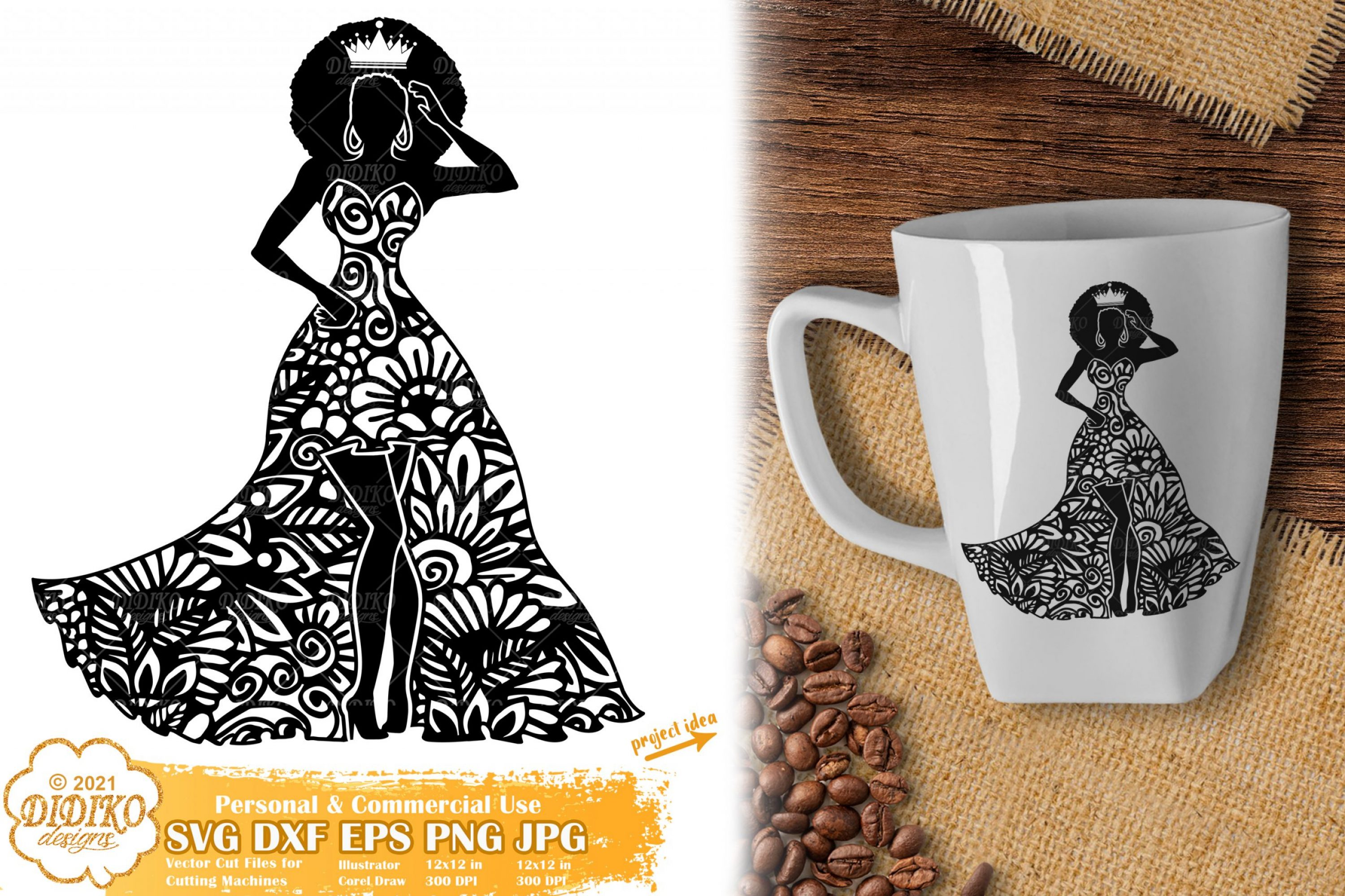 Zentangle Queen SVG, Black Woman Svg, Afro Girl Svg