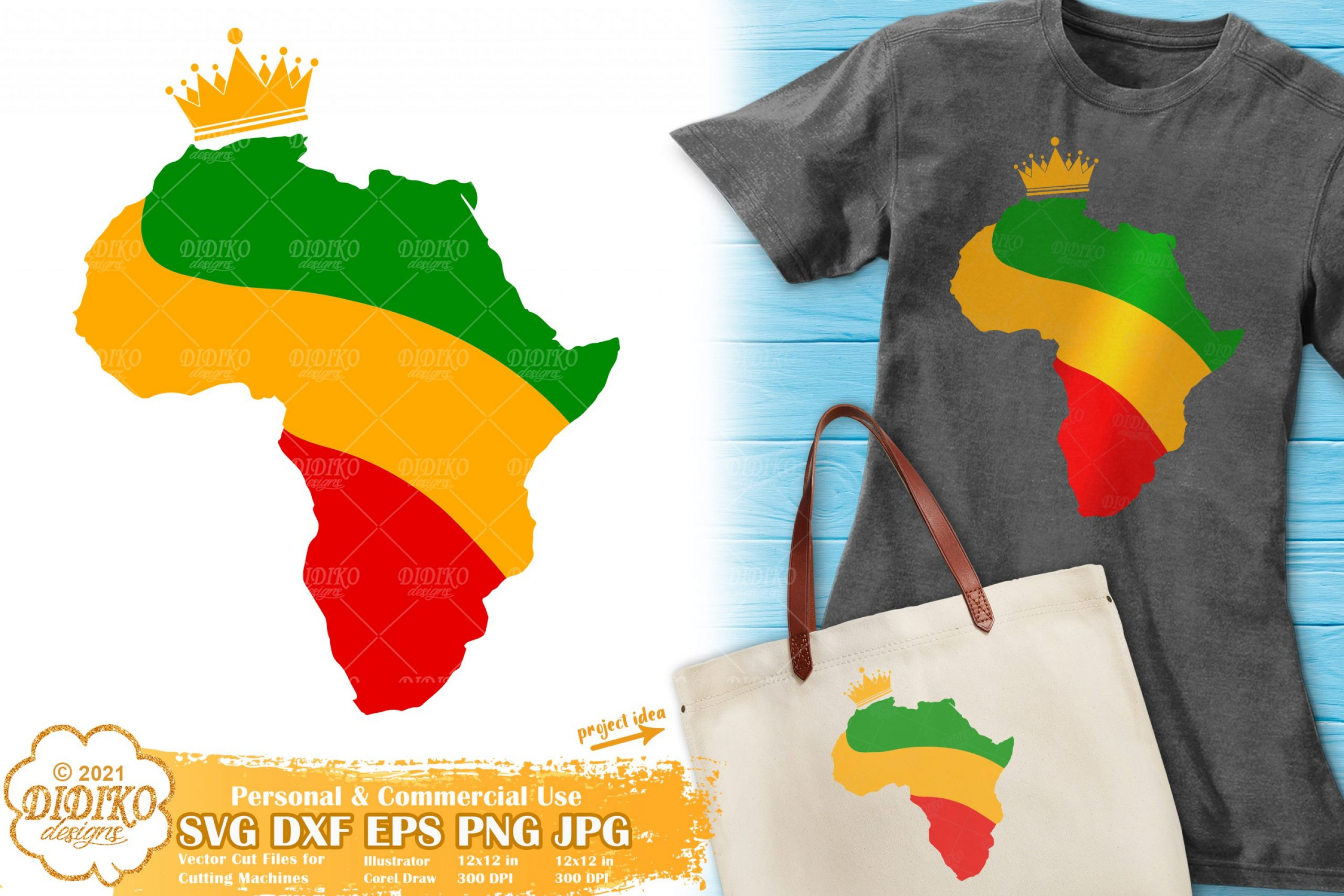 Africa with Crown SVG, Black History Svg, Africa Map